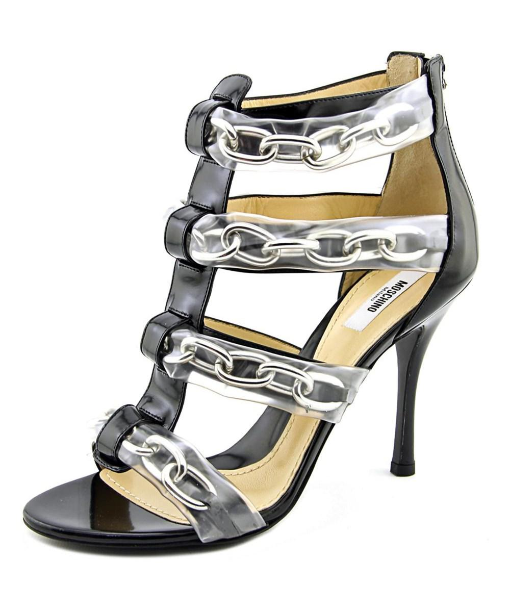 1b902b1bcc8 Lyst - Moschino Taglia Women Open Toe Patent Leather Sandals in Black