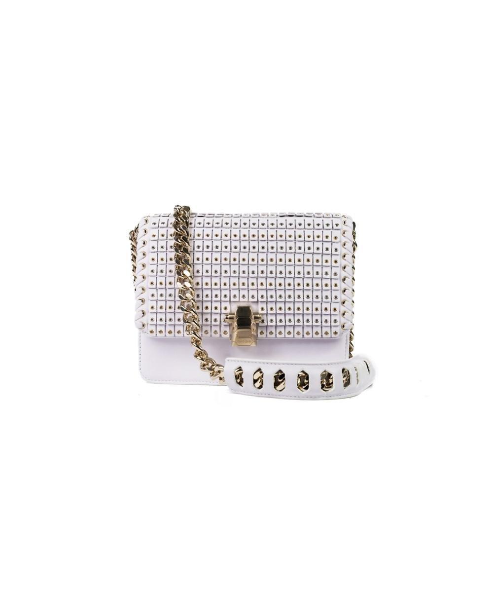 bec548cd224 Lyst - Roberto Cavalli White Leather Gold Eyelet Shoulder Bag in ...