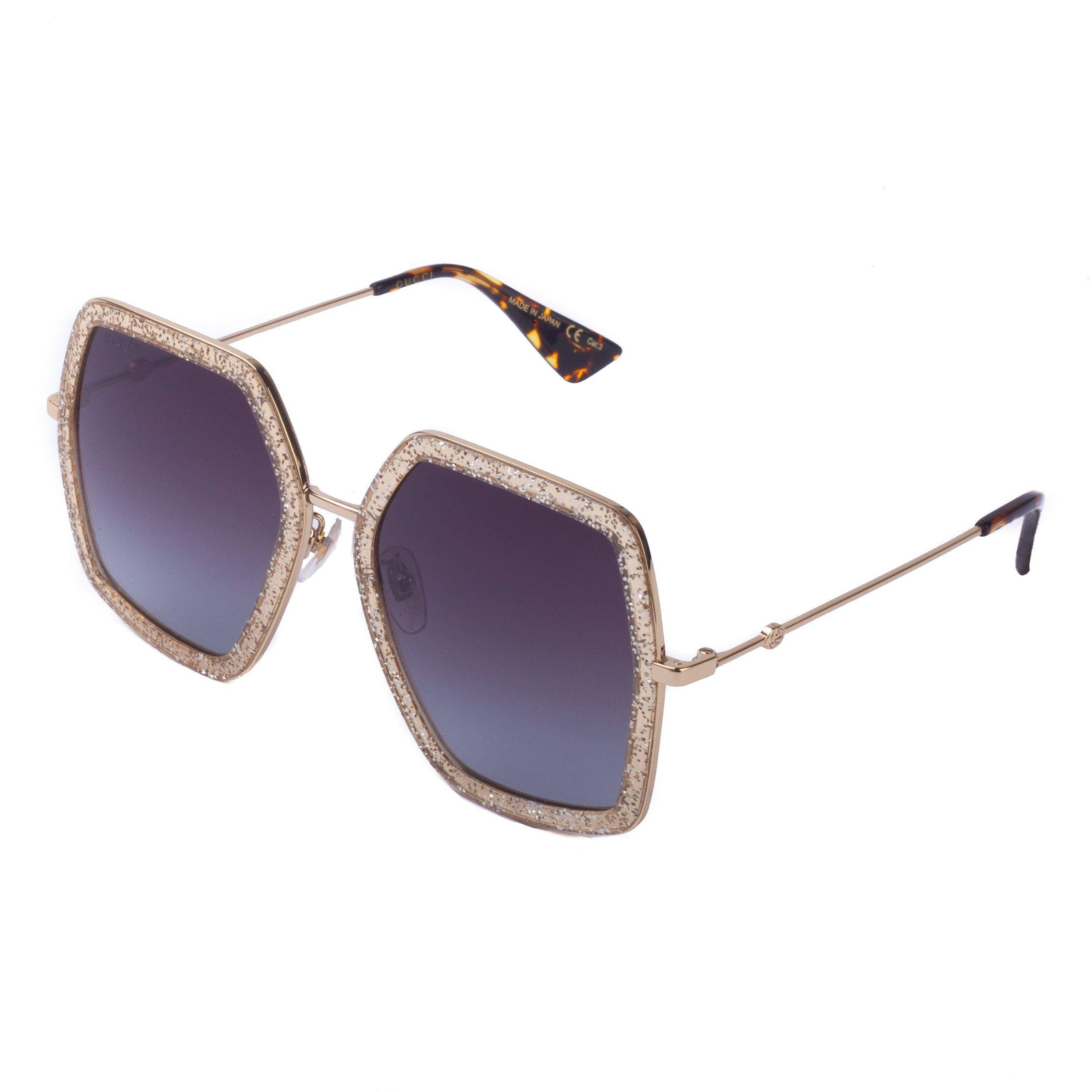 99755d342ad6e Lyst - Gucci Women s Butterfly Gold Glitter Sunglasses Gold in Metallic