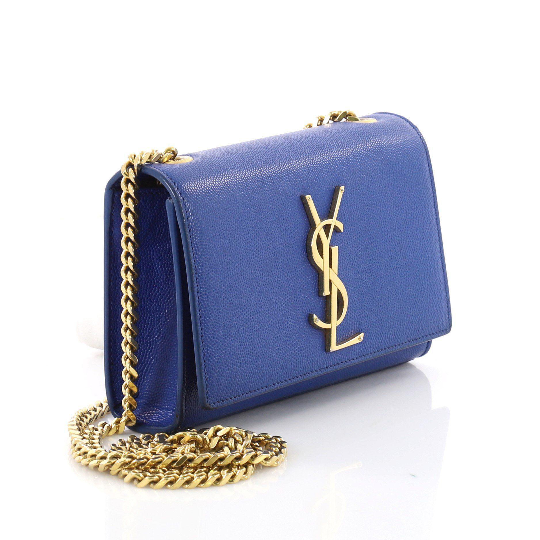 a58b127c392b Saint Laurent - Blue Pre Owned Classic Monogram Crossbody Bag Grainy  Leather Small - Lyst. View fullscreen