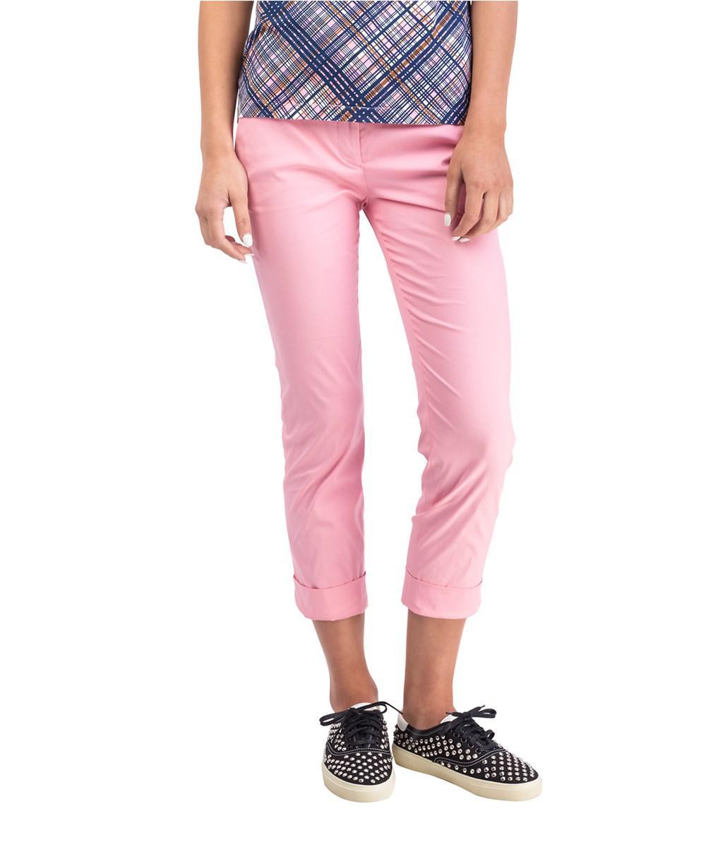 79f14f8750ec Lyst - Prada Women s Cotton Nylon Blend Slim Fit Chino Pants Pink in ...