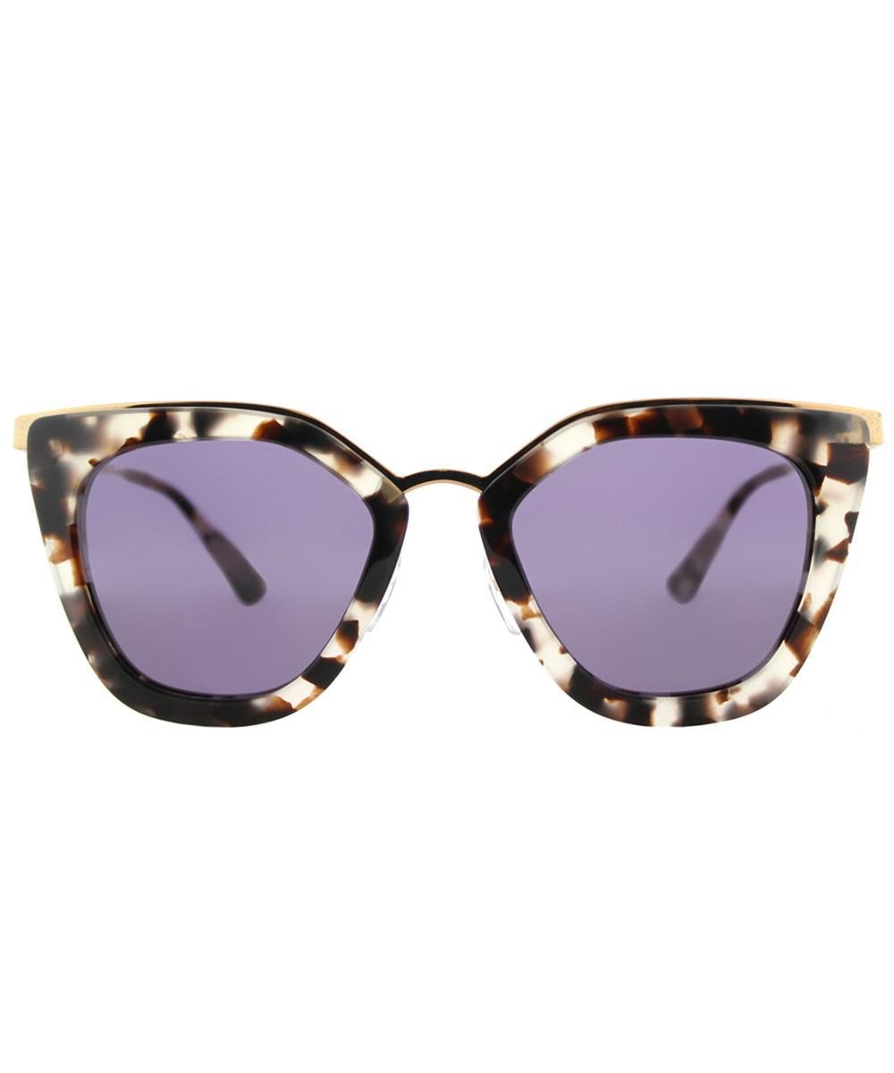 5c376d285688 ... low price lyst prada 0pr53ss uao6o252 cinema white havana cat eye  sunglasses in white 0fa64 3c882