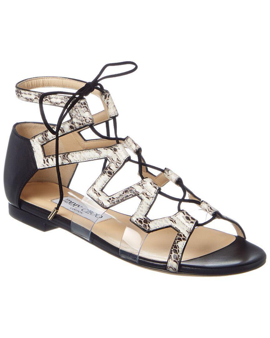3208edb2e11 Jimmy Choo. Women s Dell Flat Embossed Leather Sandal