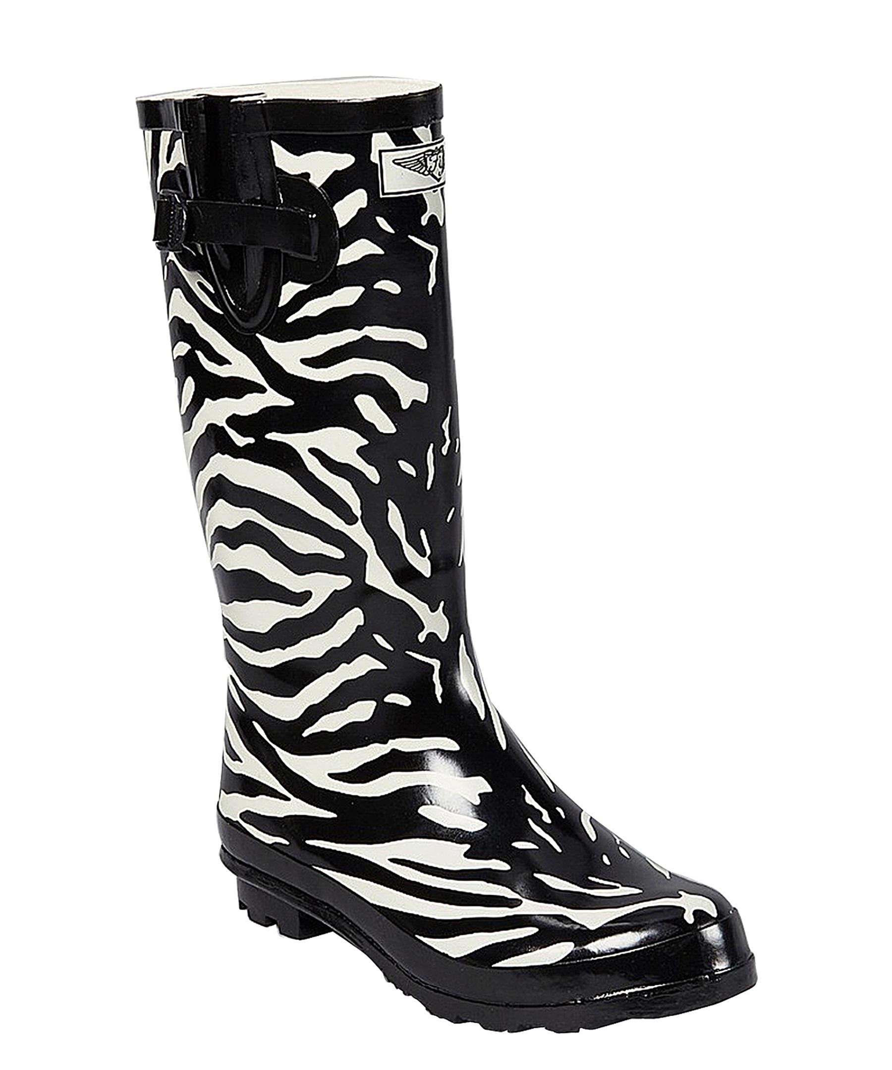 Forever young Women's Rubber Zebra Print Rain Boots in White | Lyst