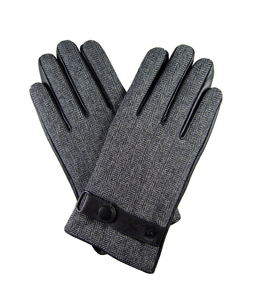 Mens leather gloves grey - Mens Leather Gloves Extra Large Dibi Men S Gray Grey Houndstooth Leather Glove Extra Large