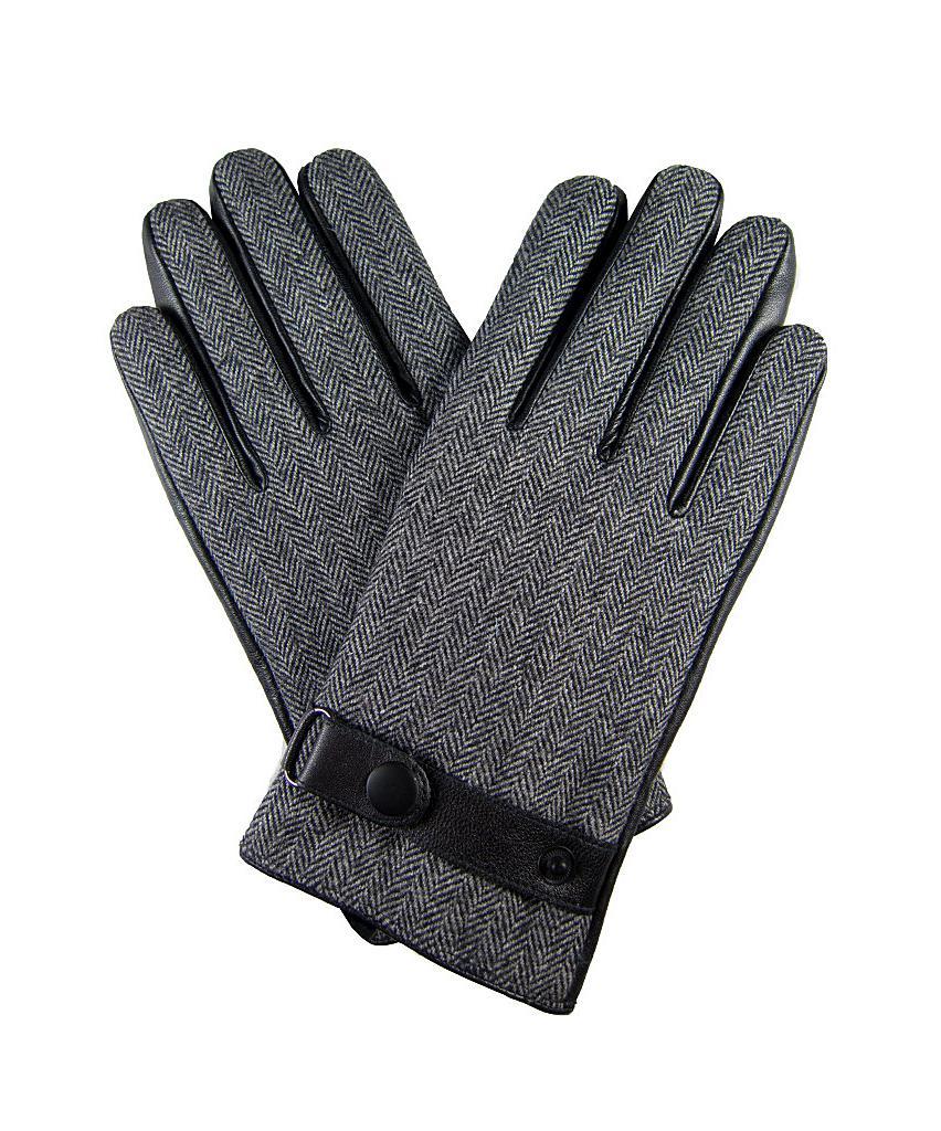Mens black leather gloves debenhams - Mens Leather Gloves Extra Large Dibi Men S Gray Grey Houndstooth Leather Glove Extra Large