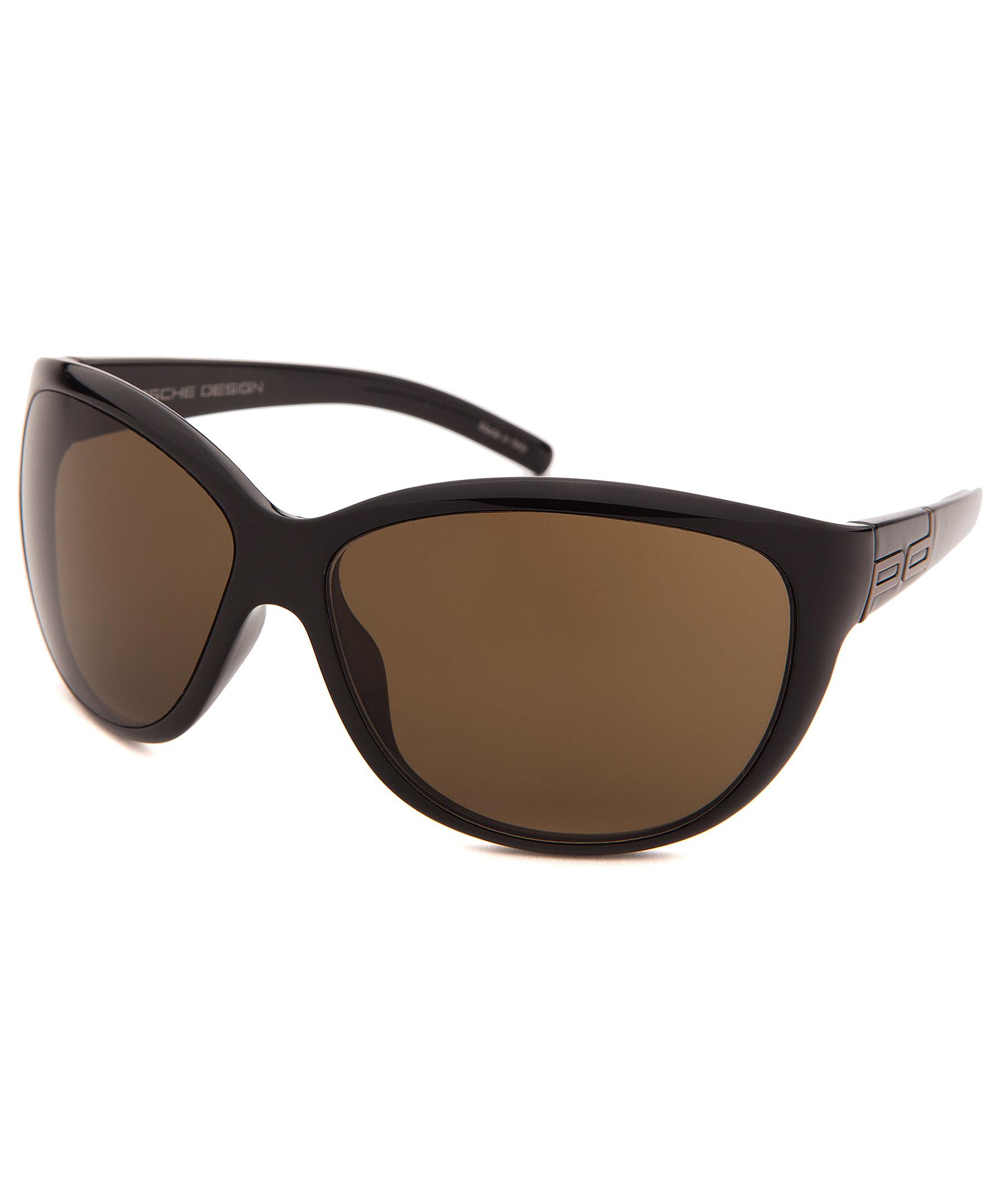 Porsche Design Women S Round Black Sunglasses In Brown