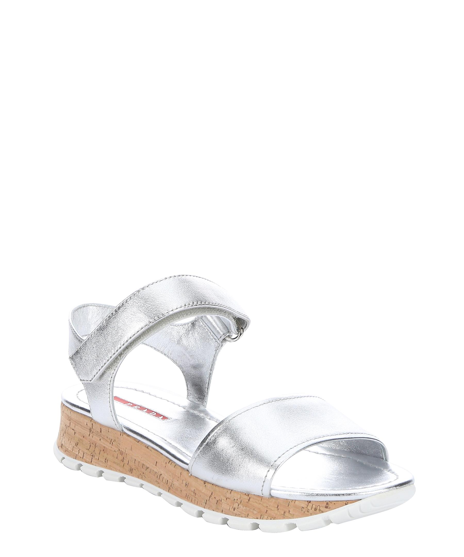 Prada Sport Silver Leather Cork Sandals In Metallic Lyst