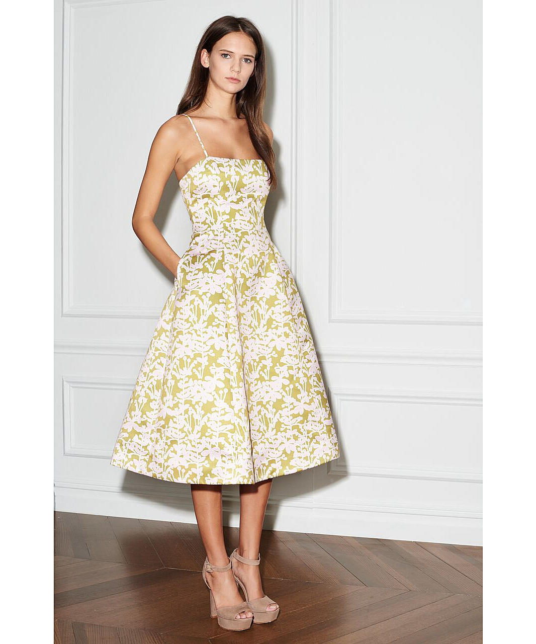Yellow Tea Length Dress