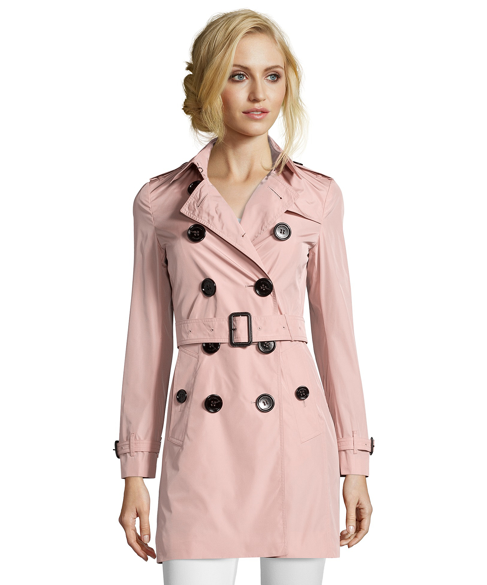 Burberry Rose Pink Taffeta 'plympton' Trench Coat in Pink | Lyst