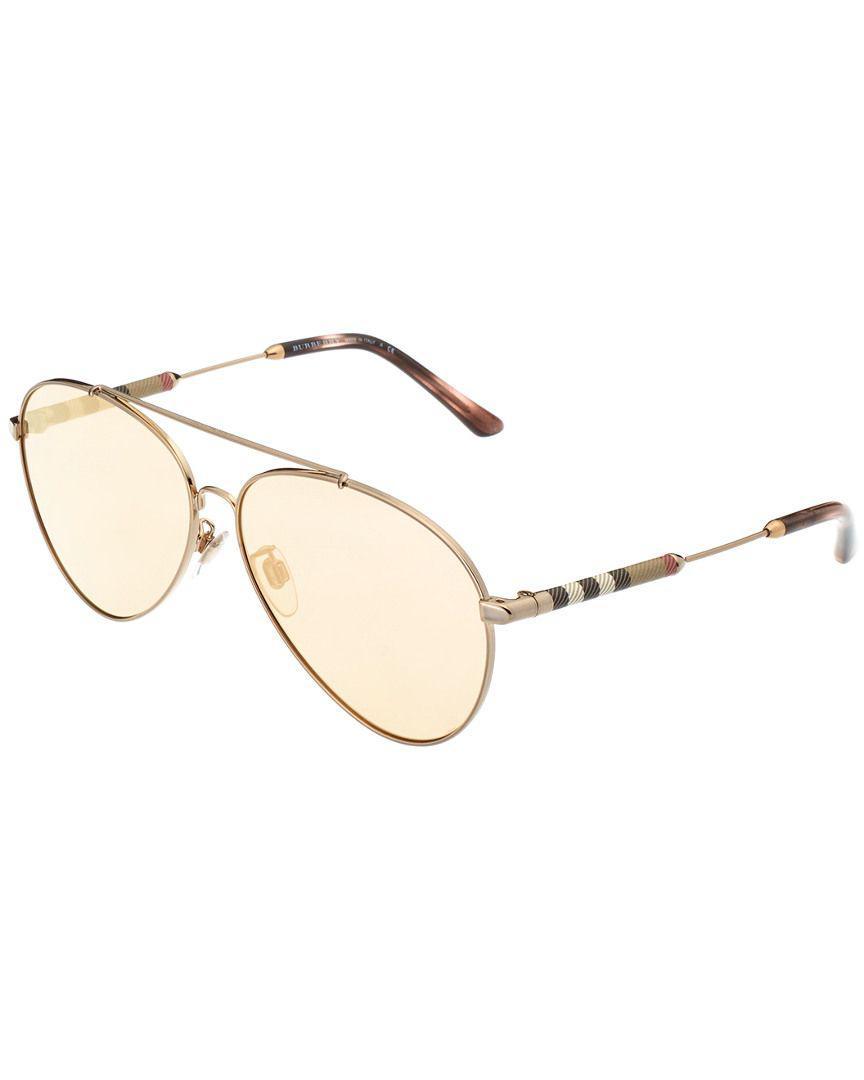 51b0a583a2d Lyst - Burberry Women s Pilot 60mm Sunglasses