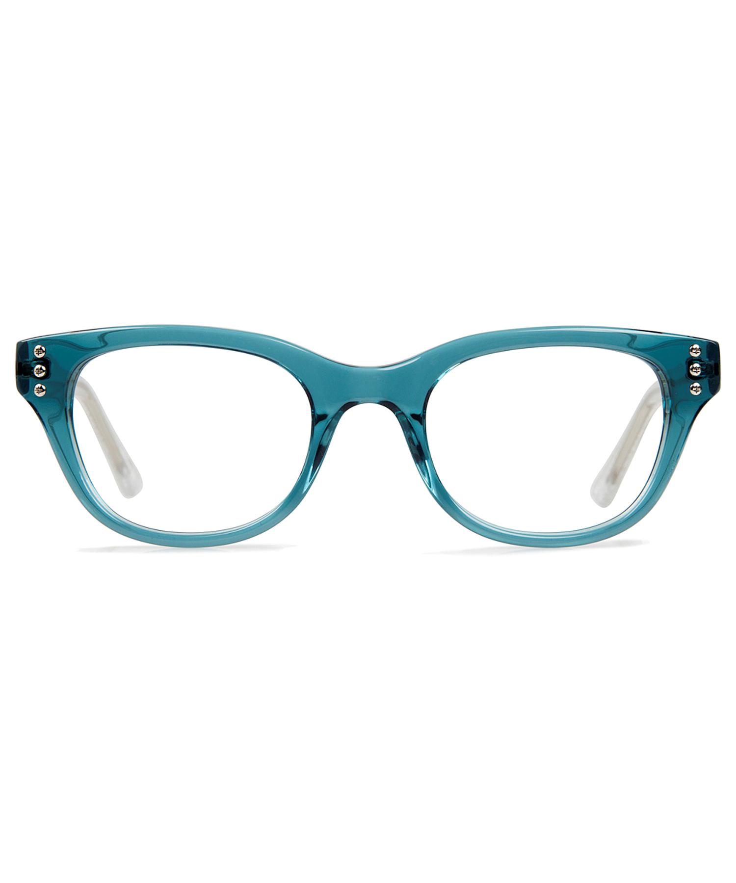9f01ee4a0f751 Lyst - Cynthia Rowley Teal Fade Round Plastic Eyeglasses in Blue