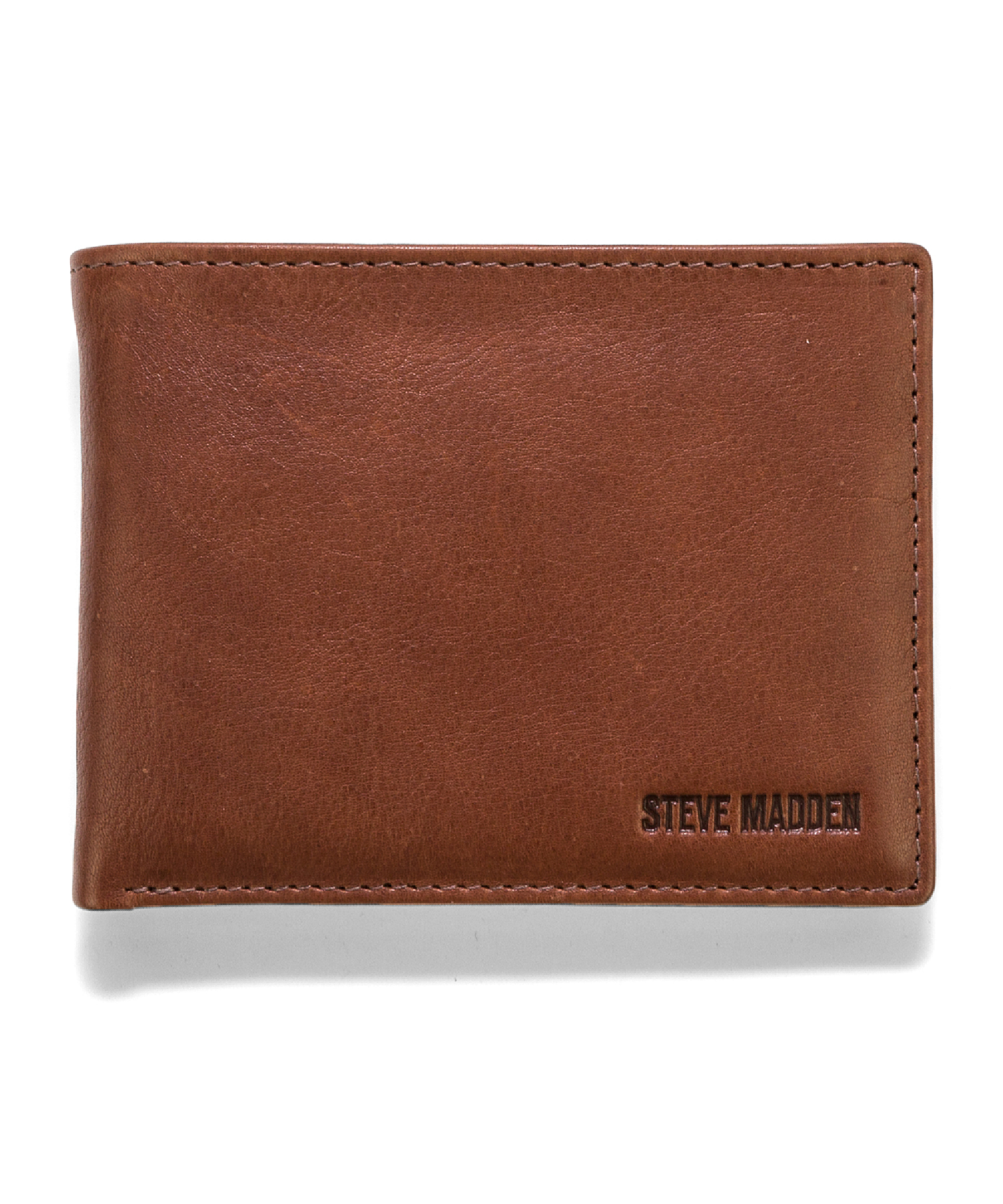 Steve Madden Mealu Leather Passcase Wallet In Brown For
