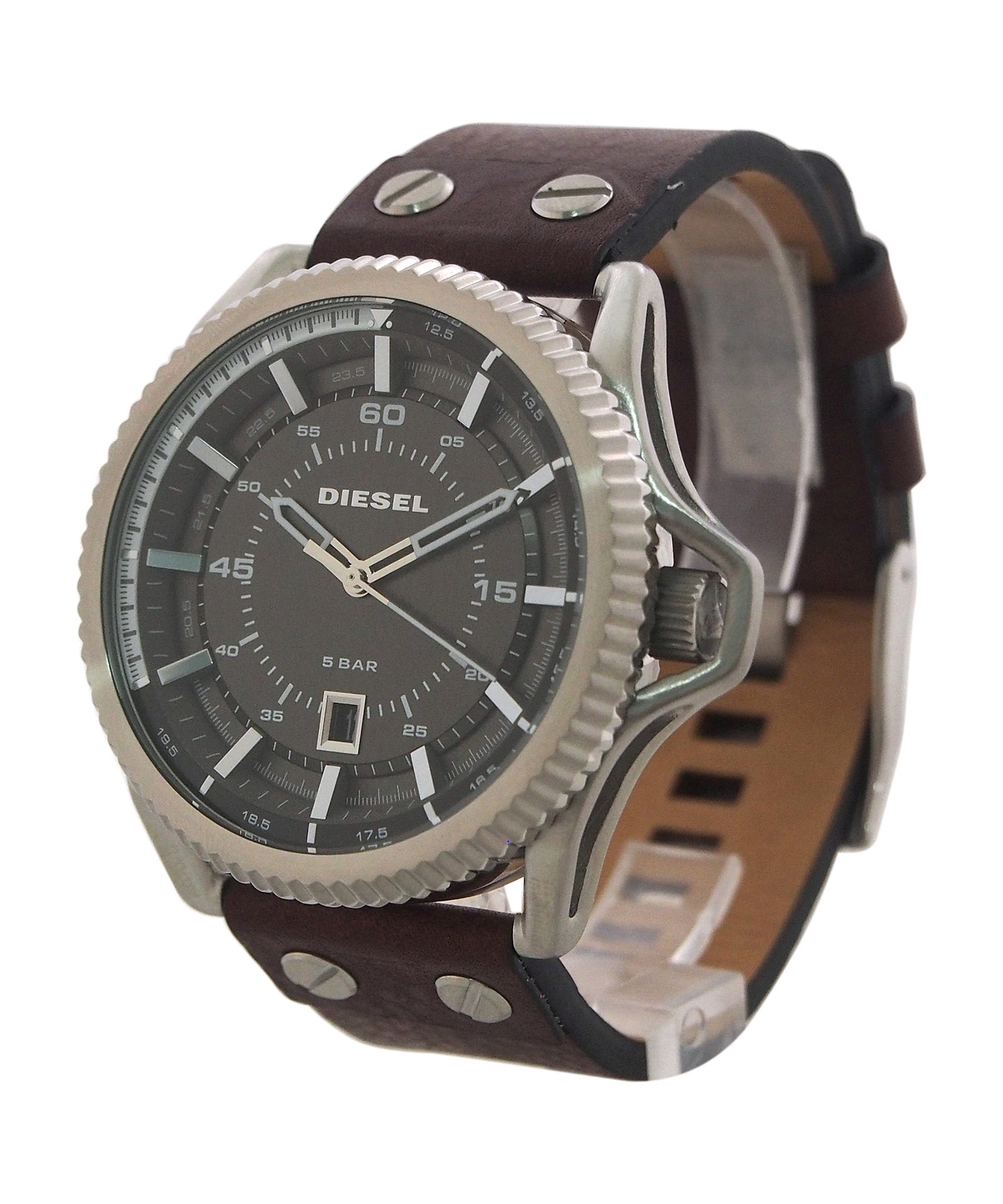 Diesel Dz1716 Rollcage Dark Brown Leather Strap Watch In For Fossil Fs5170 Gallery