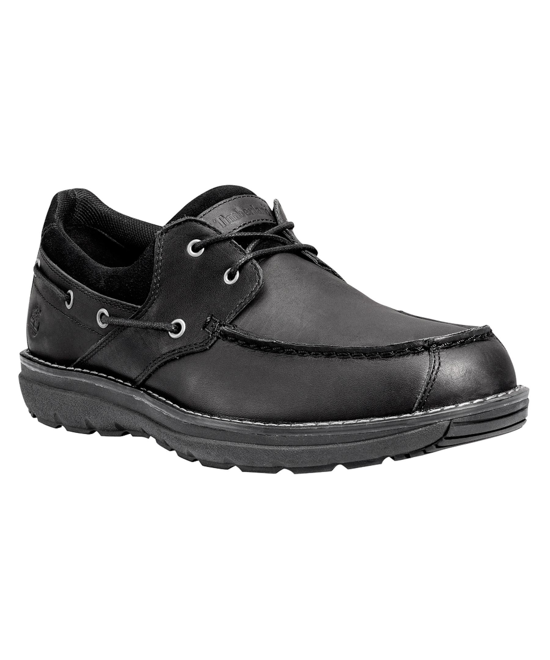 Timberland Menu0026#39;s Barrett Park 2-eye Boat Athletic Boating Shoes In Black For Men | Lyst
