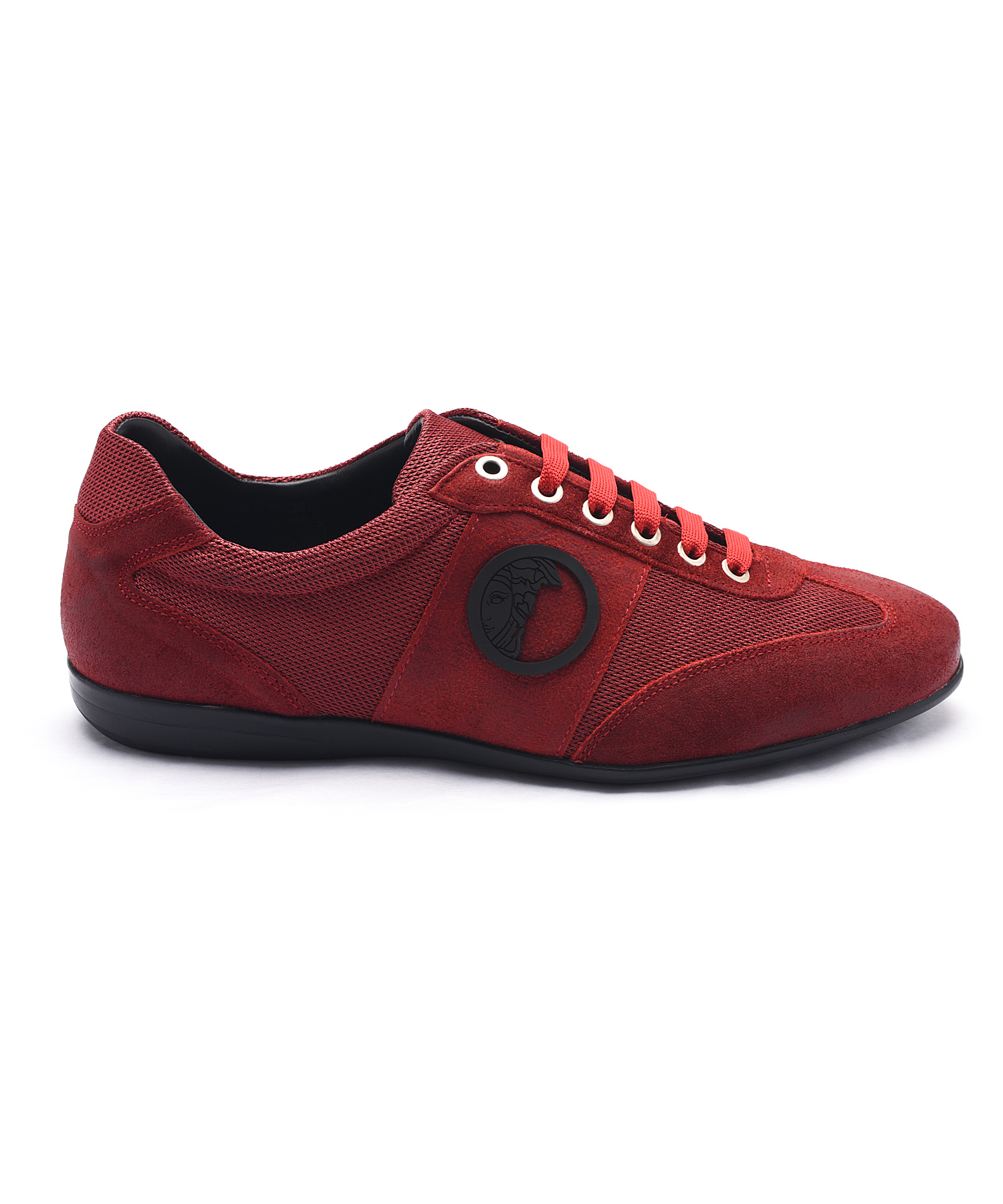 Versace medusa logo low top sneakers in red for men lyst