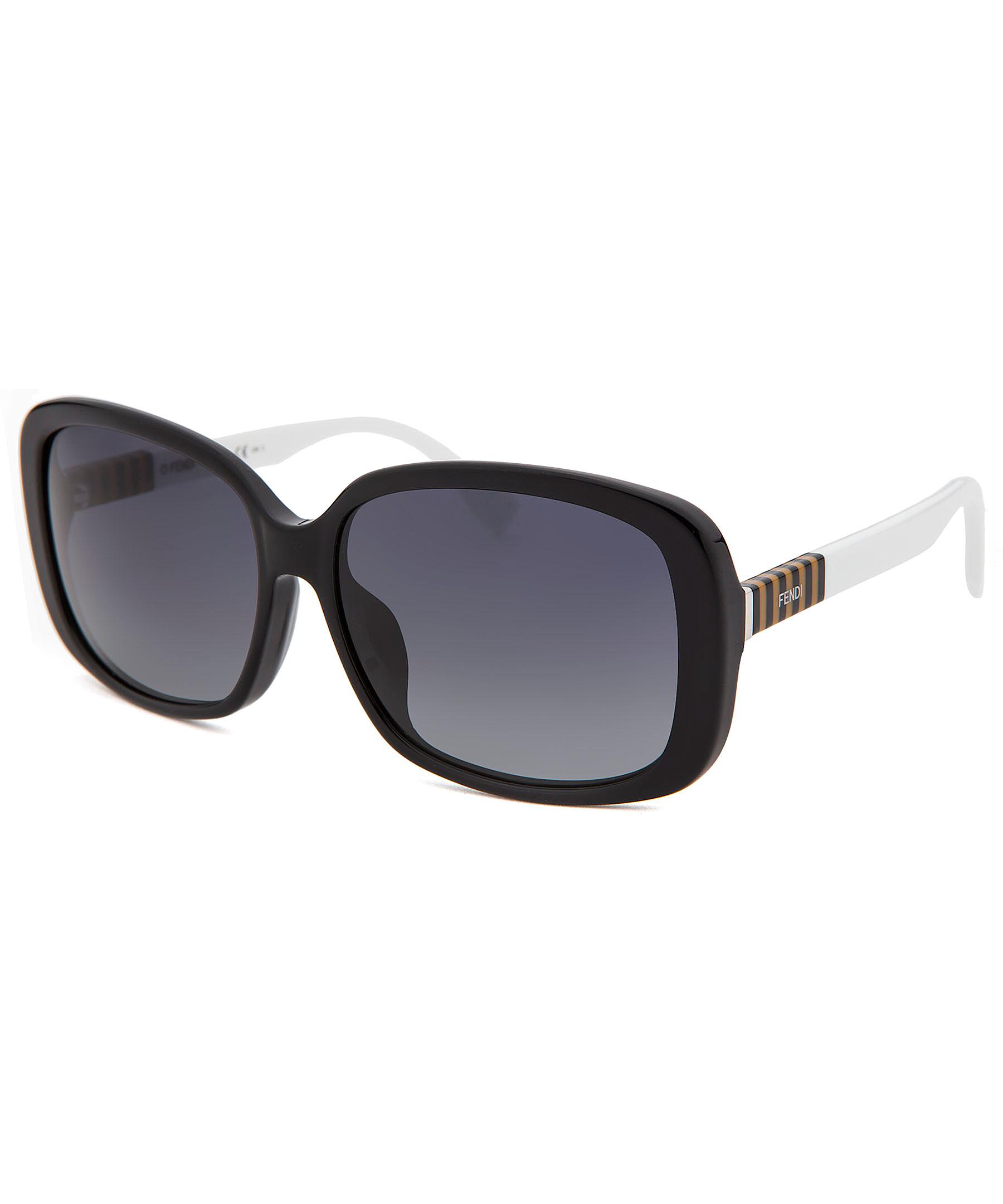 Fendi Women's Oversized Black Sunglasses White Arms in ...