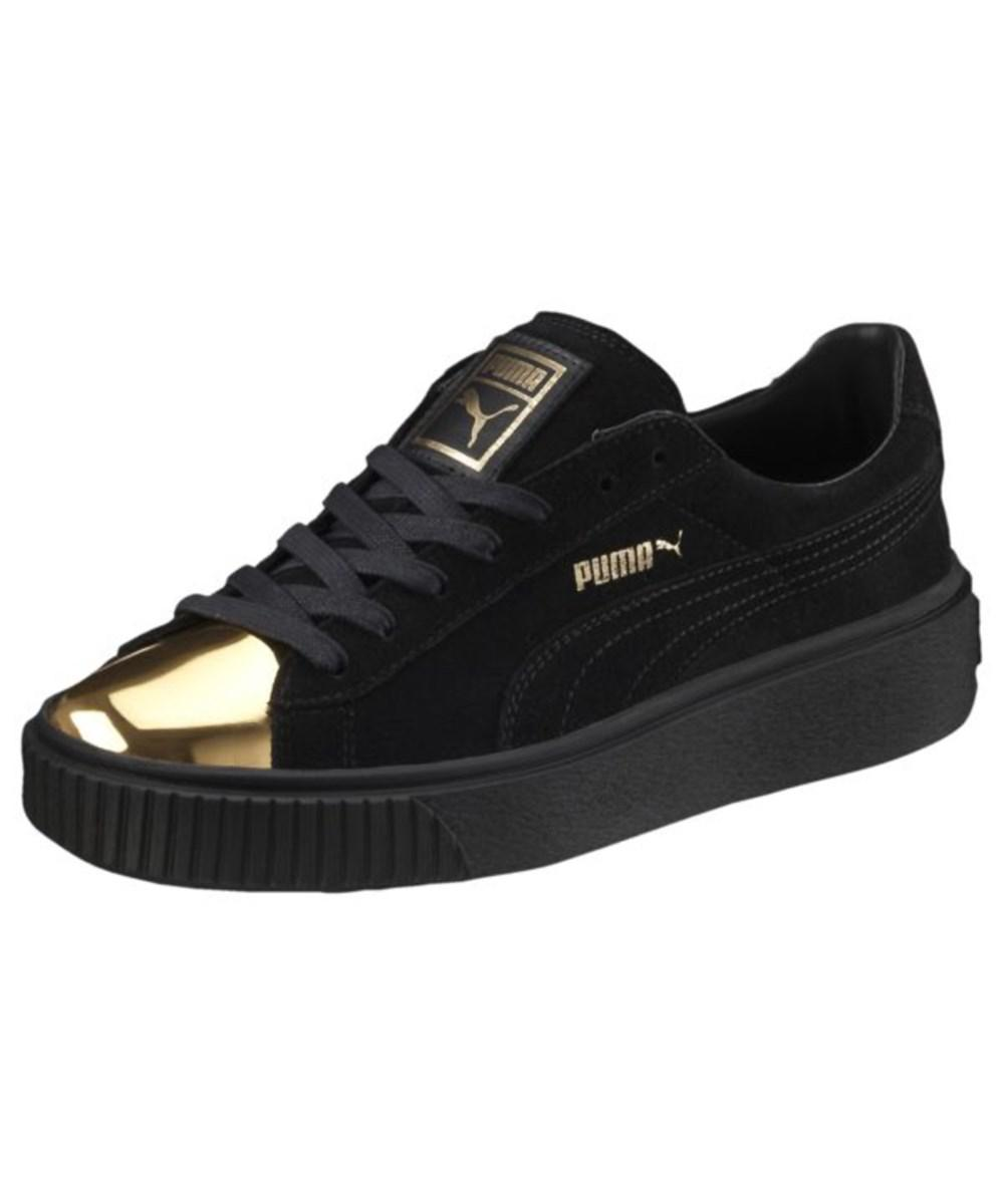 PUMA. Black Womens Suede Platform Gold Low Top Lace Up Fashion Sneakers 7a9141c68