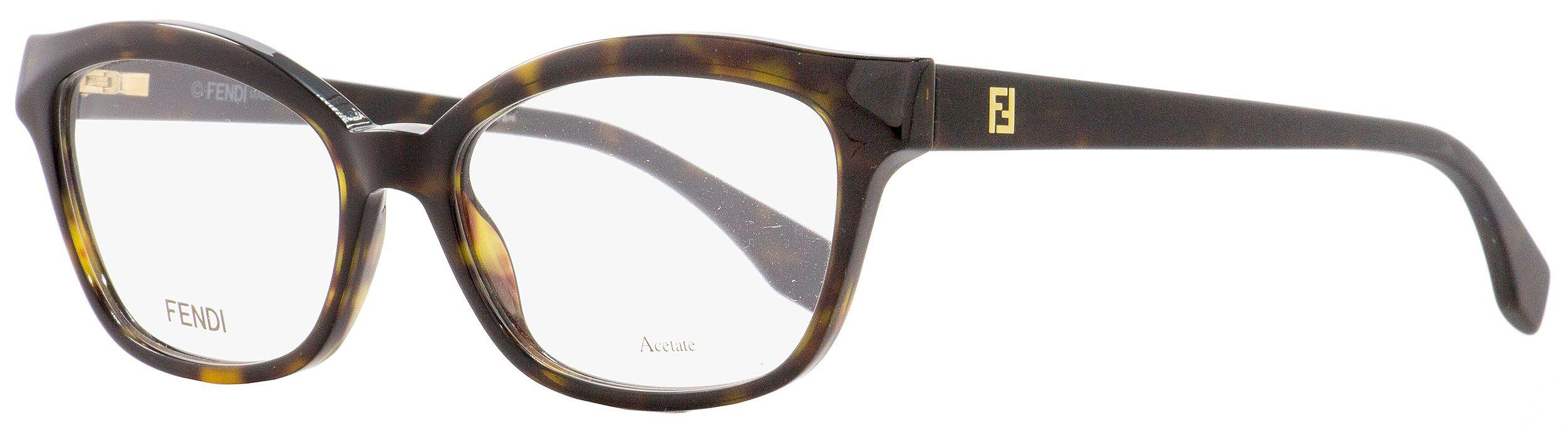 5caab896b96 Lyst - Fendi Oval Eyeglasses Ff0046 086 Havana Shiny matte 52mm 046