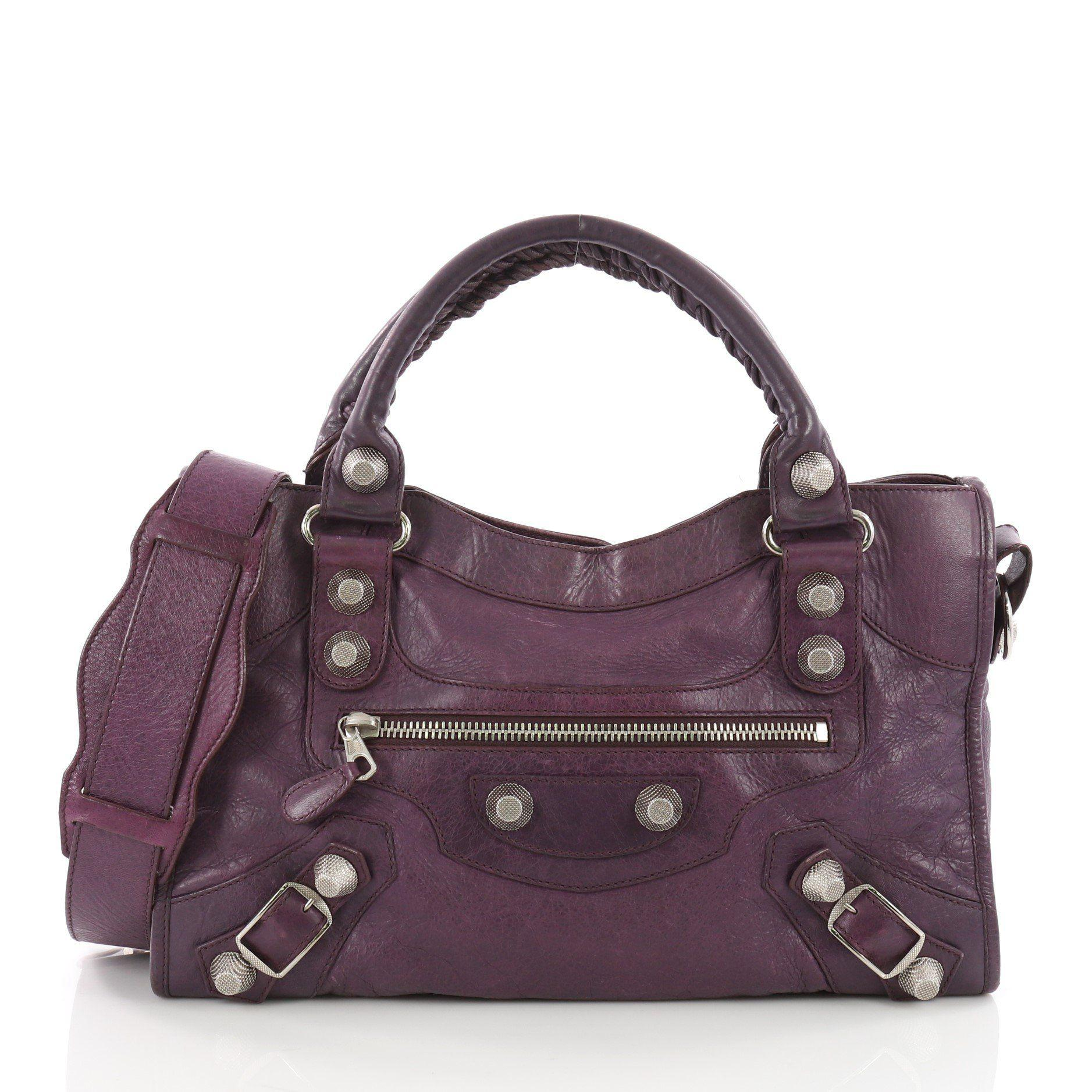 d98eec6e4661 Balenciaga. Women s Purple Pre Owned City Giant Studs Handbag Leather Medium