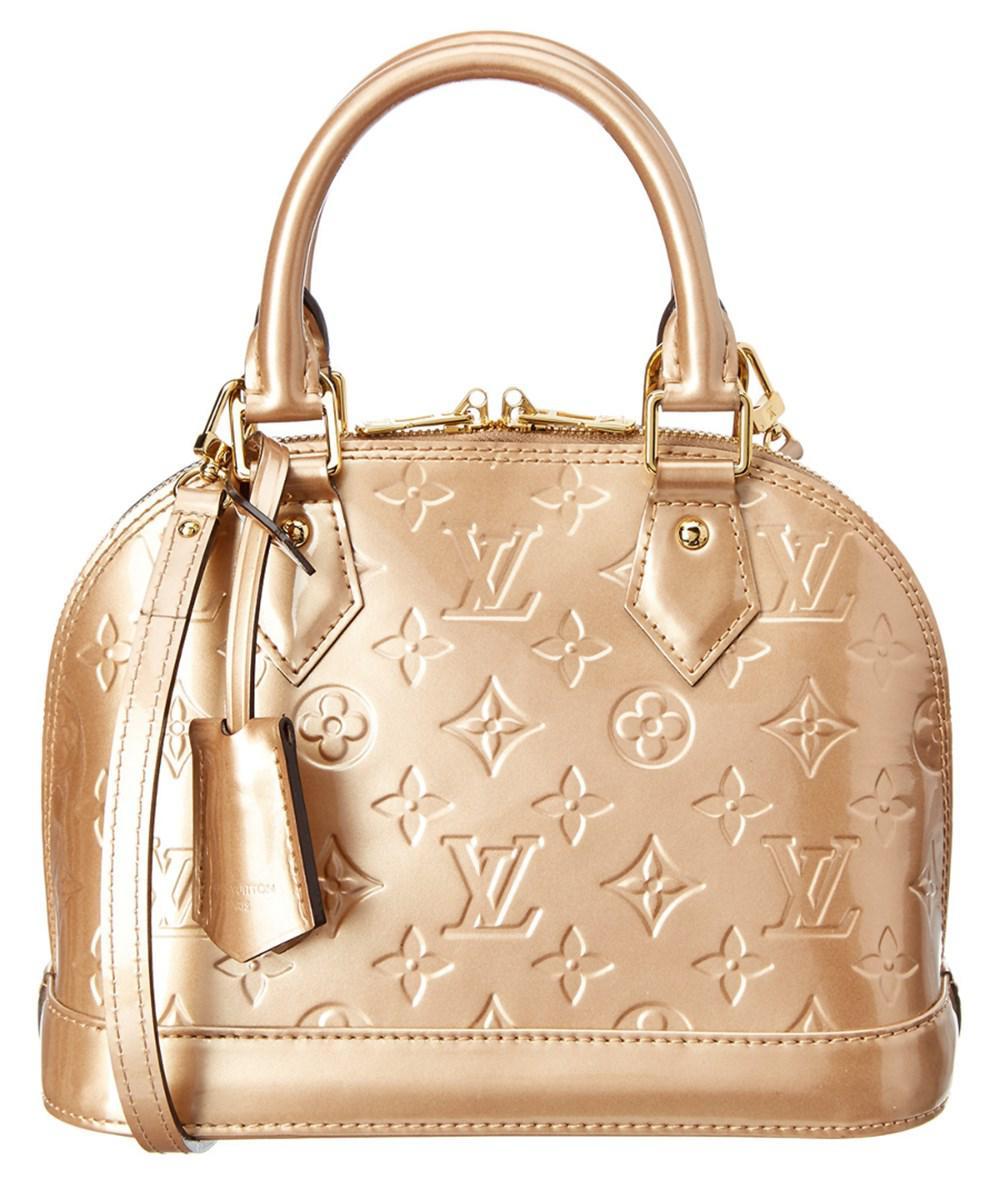 ec939570727a Lyst - Louis Vuitton Beige Monogram Vernis Leather Alma Bb in Natural