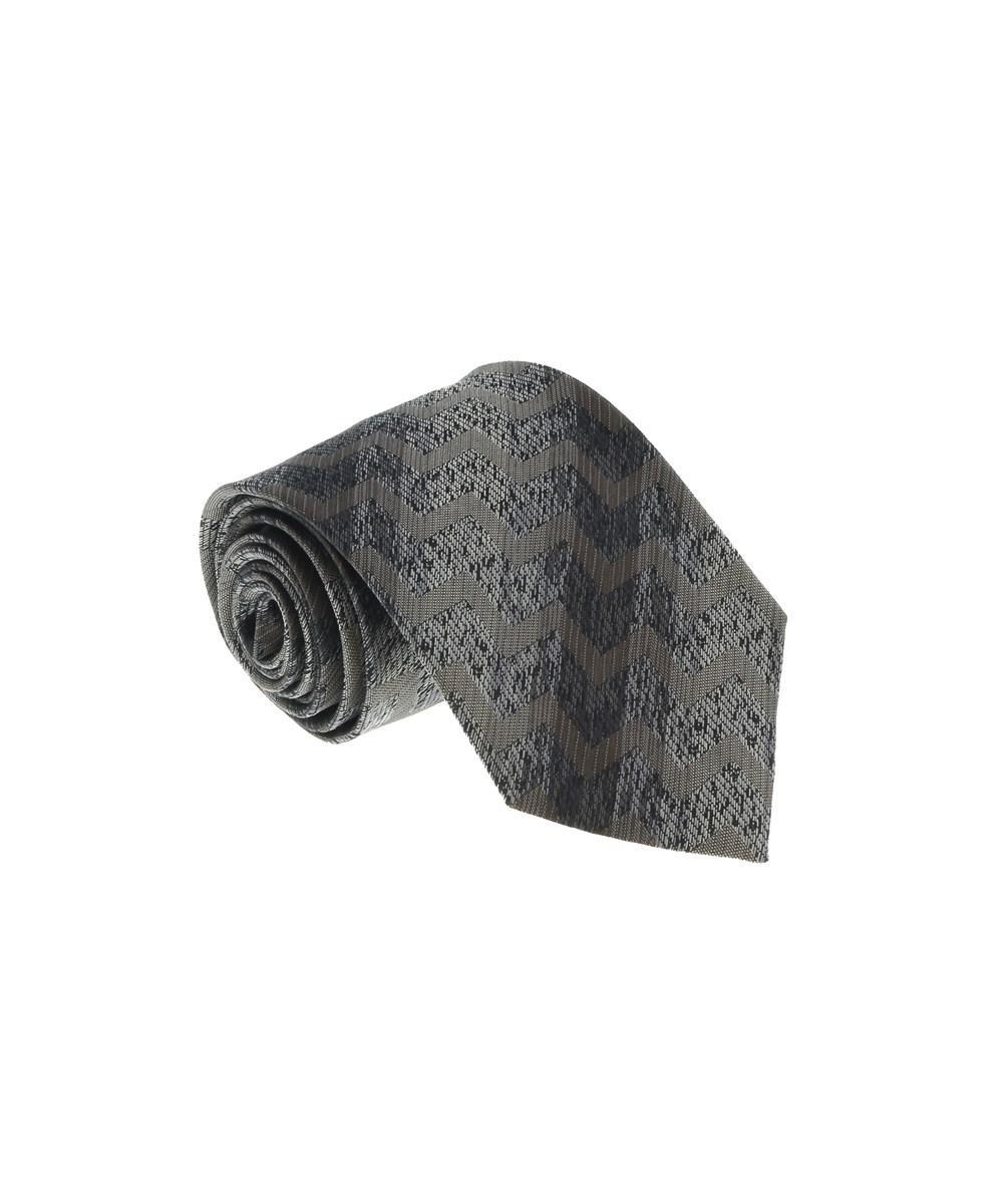 Missoni U4914 Red//Silver Chevron 100/% Silk Tie for mens