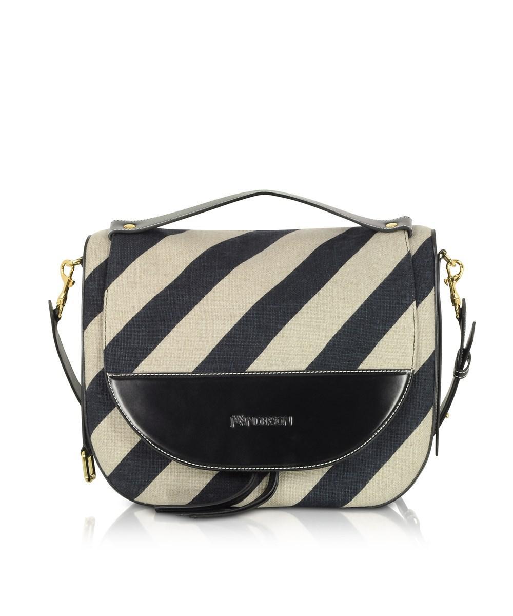 Lyst - J.W. Anderson Women s White black Linen Shoulder Bag in White 1d80322bf6ebd
