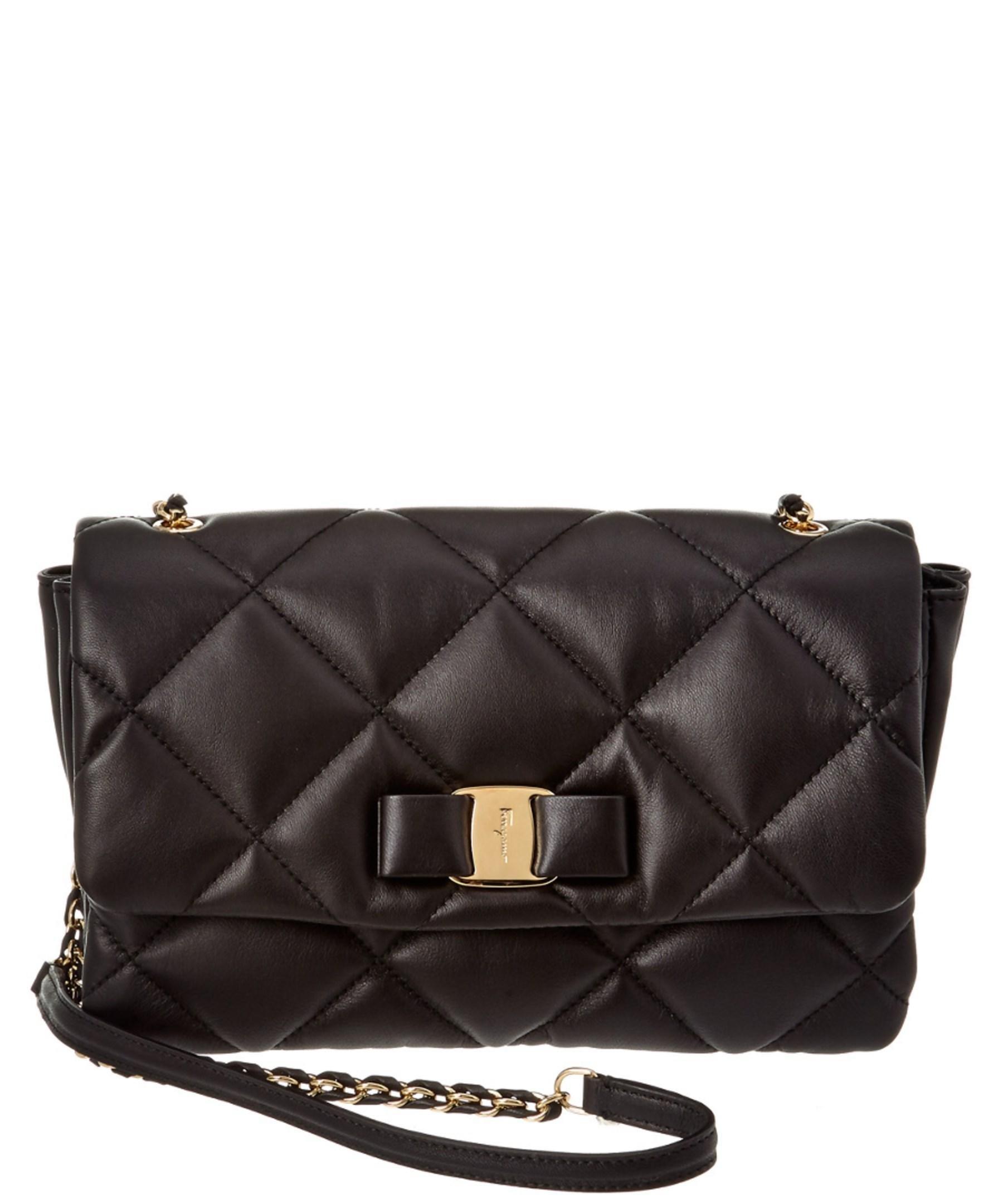 Lyst - Ferragamo Gelly Medium Quilted Vara Leather Shoulder Bag in Black 68c02c55ba79f