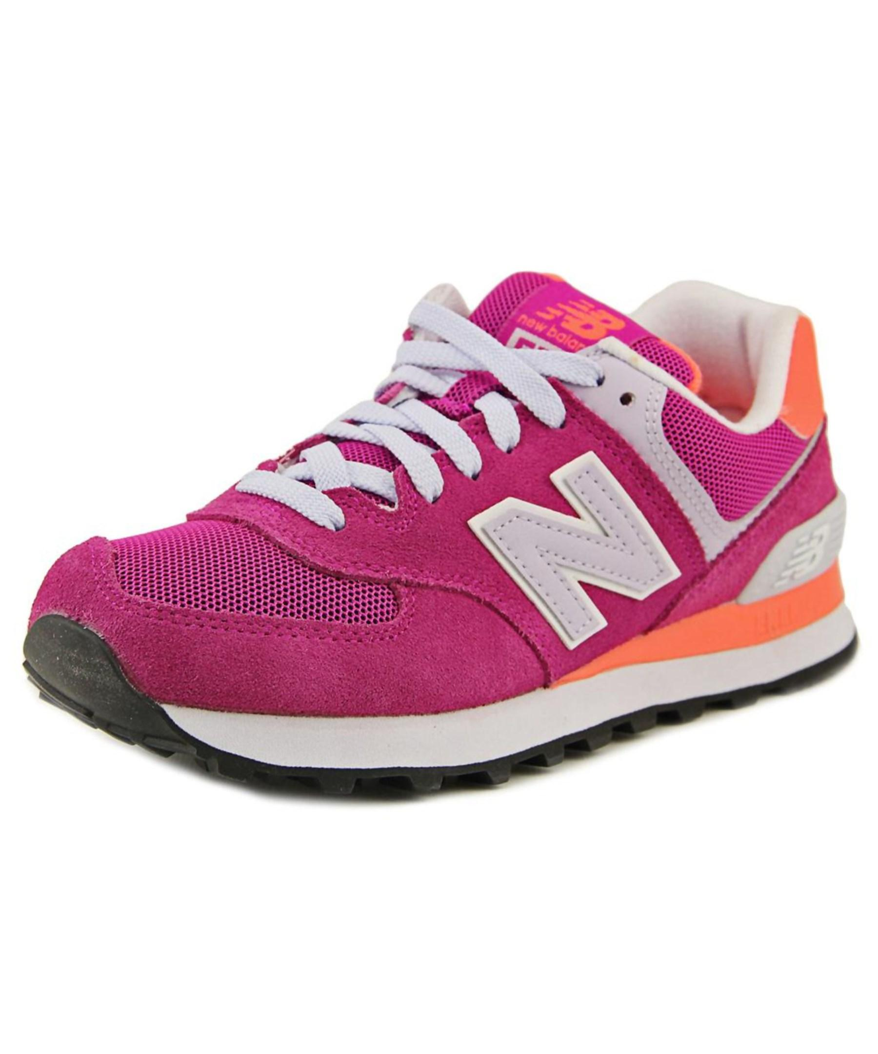 New Balance Wl574 Round Toe Suede Fashion Sneakers In Pink | Lyst