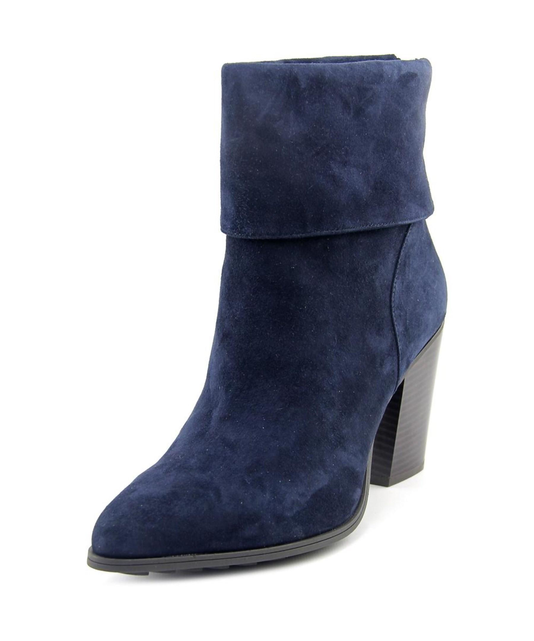 alfani lauree pointed toe suede blue ankle boot in