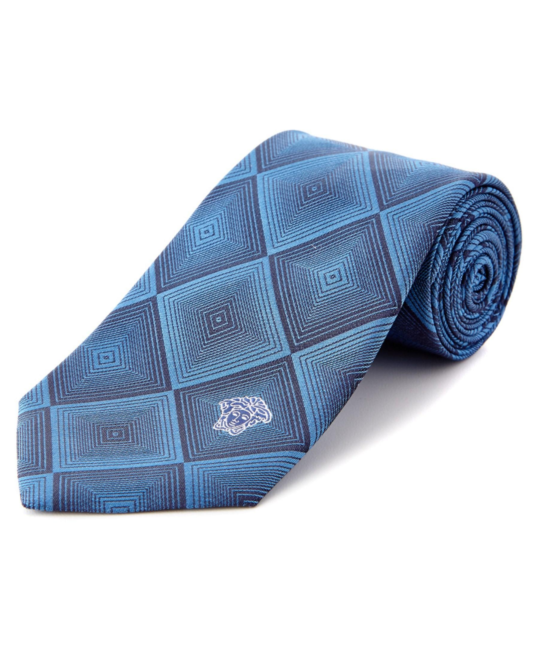versace collection blue dizzy square silk tie in blue for