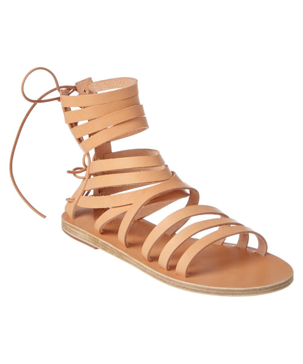 Ancient Greek Sandals. Women's Natural Galatia Leather Gladiator Sandal