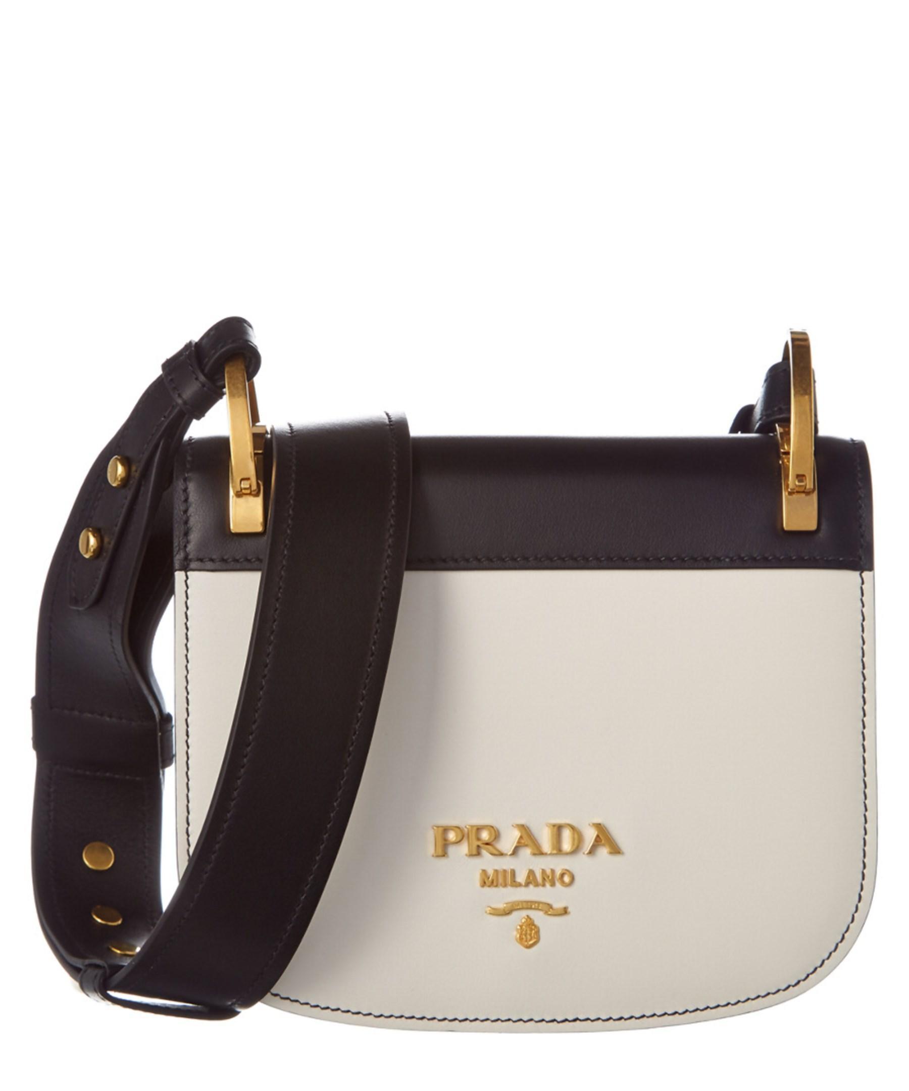 c6f5187f6c41a2 ... italy lyst prada pionniere calf leather saddle bag in white 0dc97 30af3