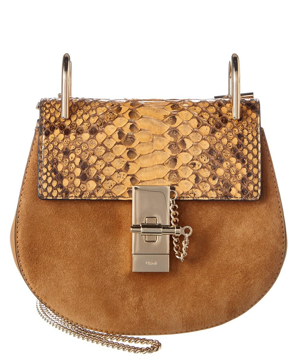 5ce8b0646722 Lyst - Chloé Drew Mini Python Leather   Suede Shoulder Bag in Natural