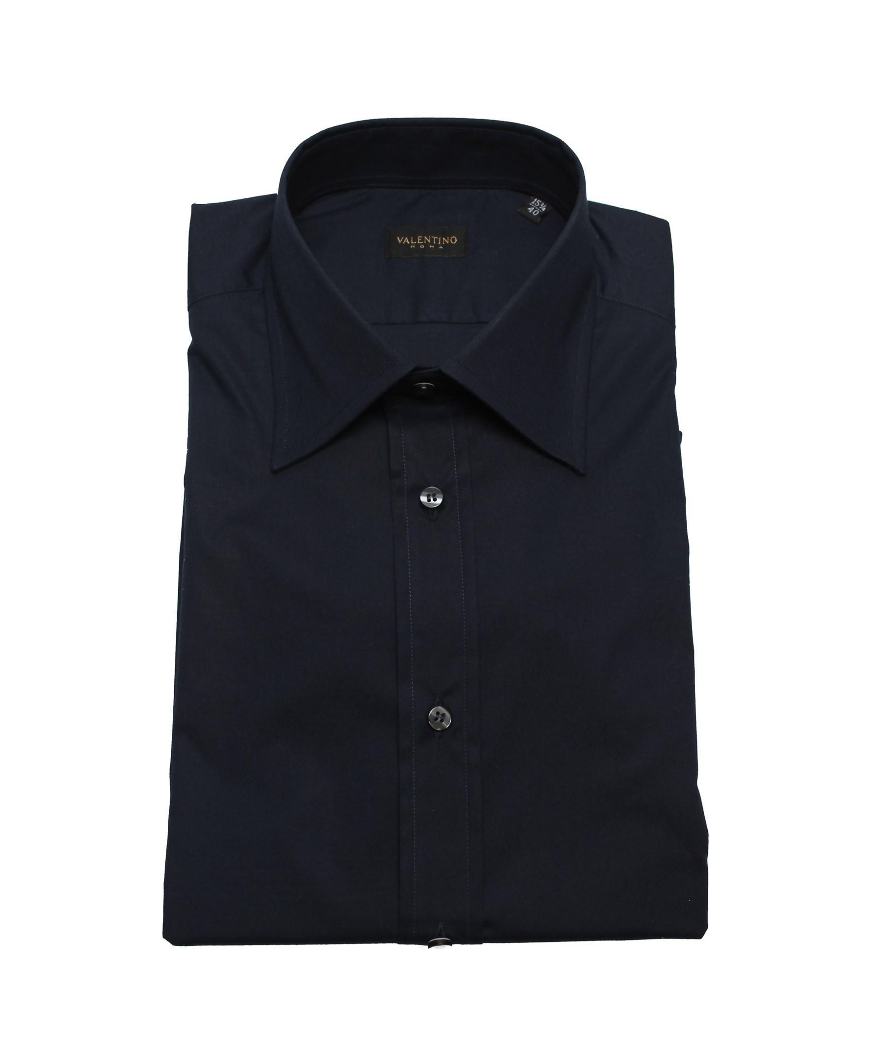 Valentino regular fit cotton dress shirt navy in blue for for Regular fit dress shirt