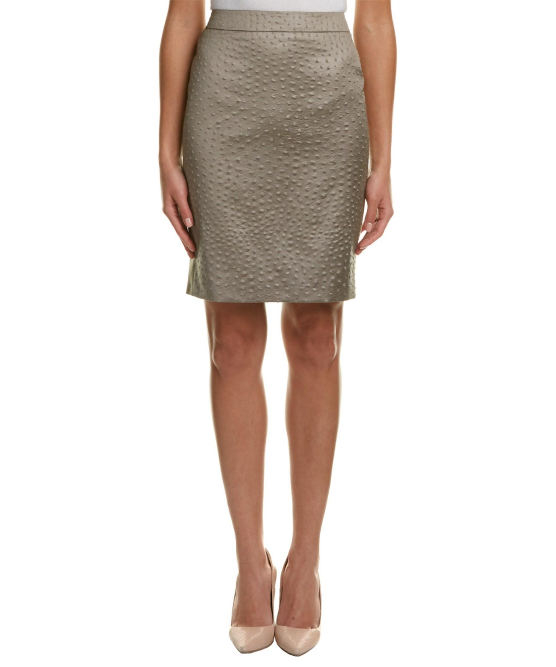 max mara leather wool pencil skirt in gray lyst