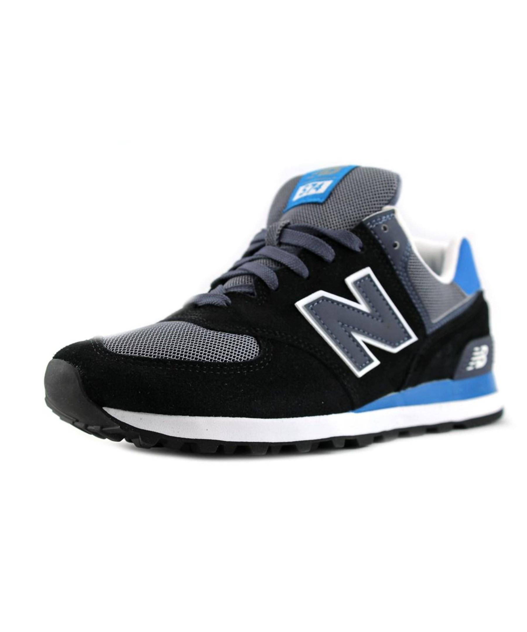 new balance ml574 suede fashion sneakers in black for men lyst. Black Bedroom Furniture Sets. Home Design Ideas