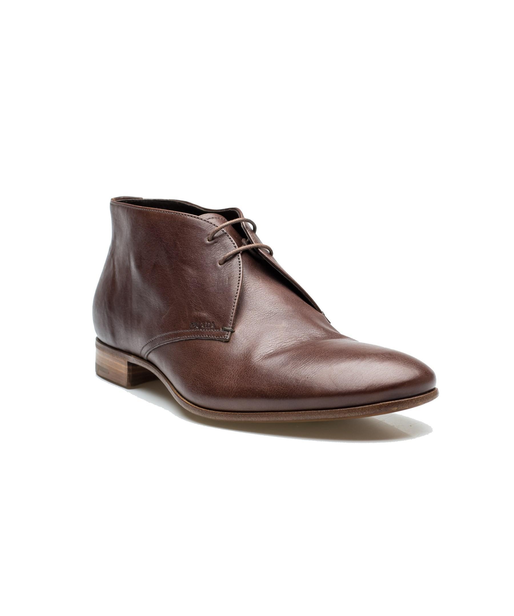 prada mens oxford chukka dress shoes boot leather cocco