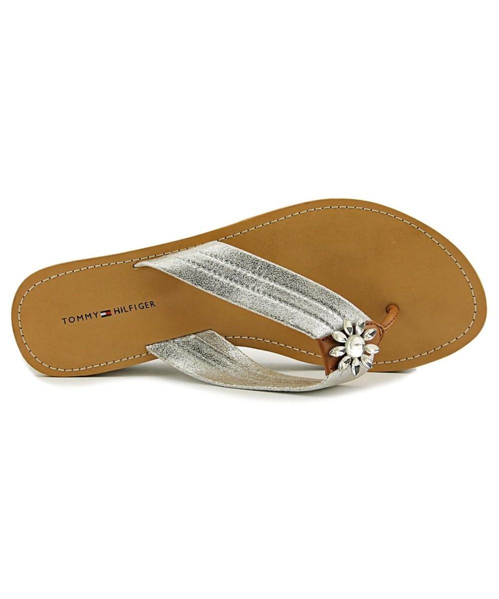 30bd0355902 Lyst - Tommy Hilfiger Rayce Open Toe Canvas Wedge Sandal in Metallic