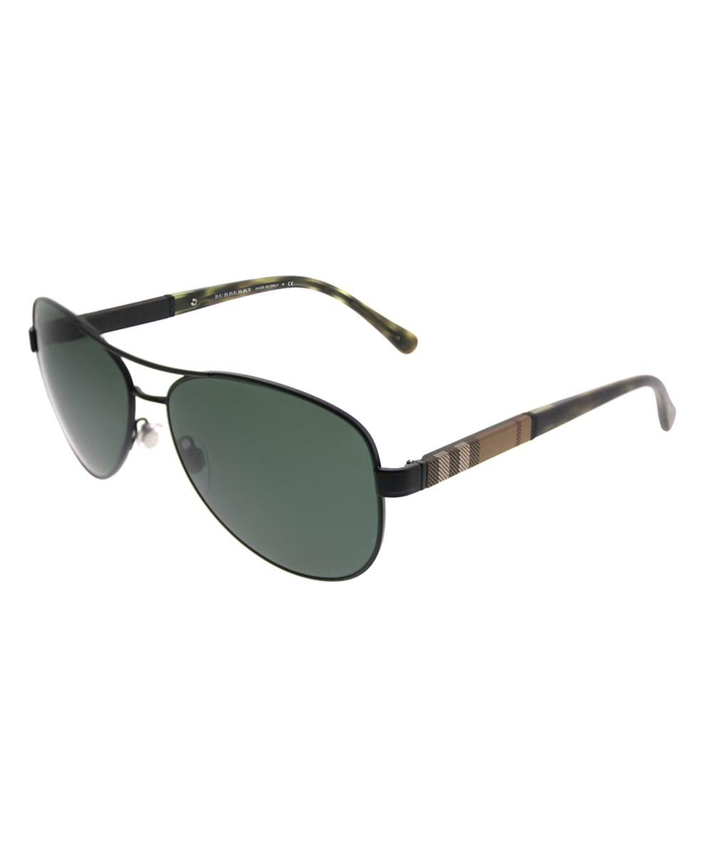 9940cf86d14 Burberry - 0be3080 123371 Matte Black Aviator Sunglasses for Men - Lyst.  View fullscreen