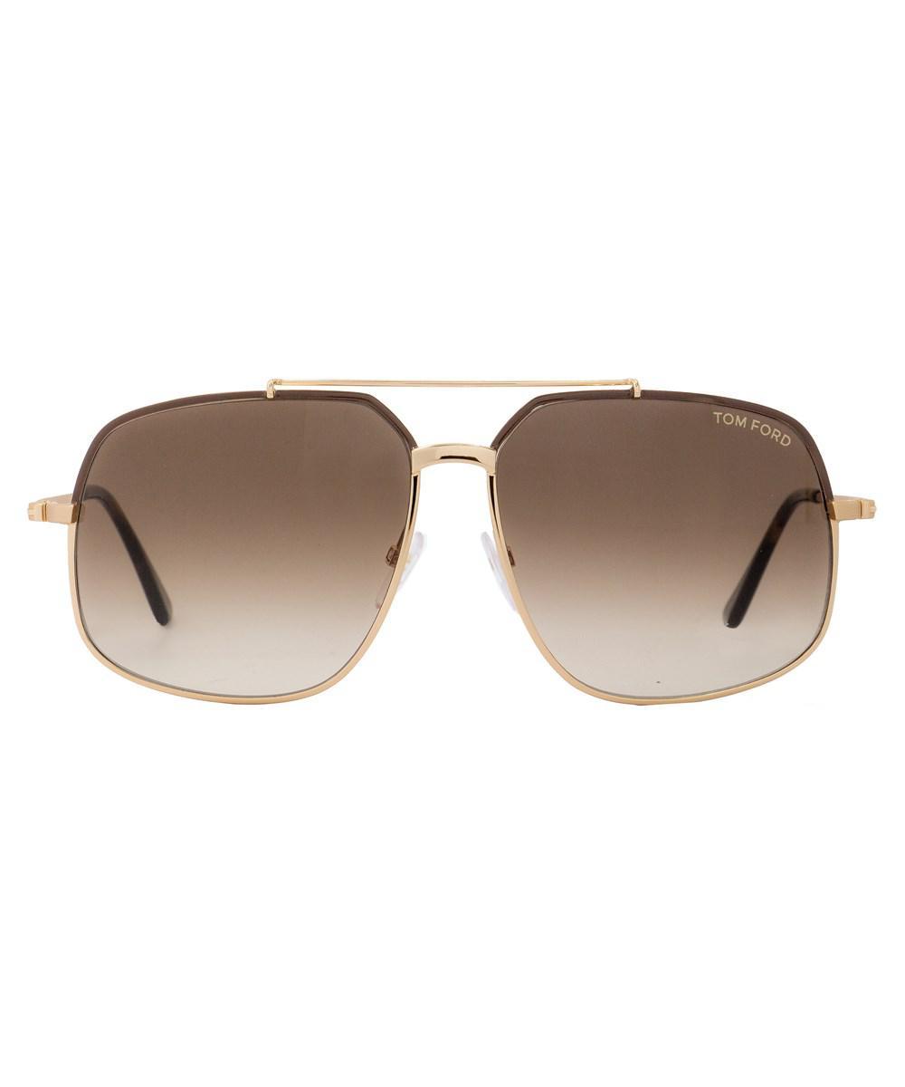 e2ba5ca2c40a Lyst - Tom Ford Aviator Sunglasses Tf439 Ronnie 48f Rose Gold brown ...