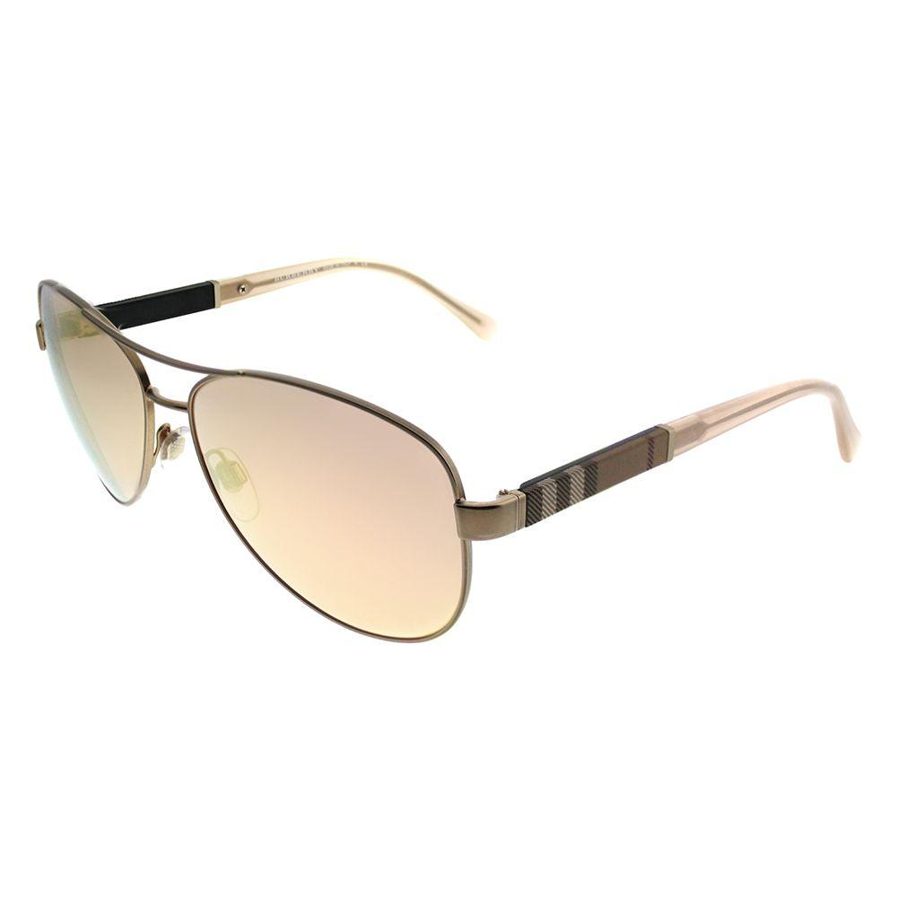 91e71b851a79 Lyst - Burberry 0be3080 12357j Matte Gold Aviator Sunglasses in Metallic