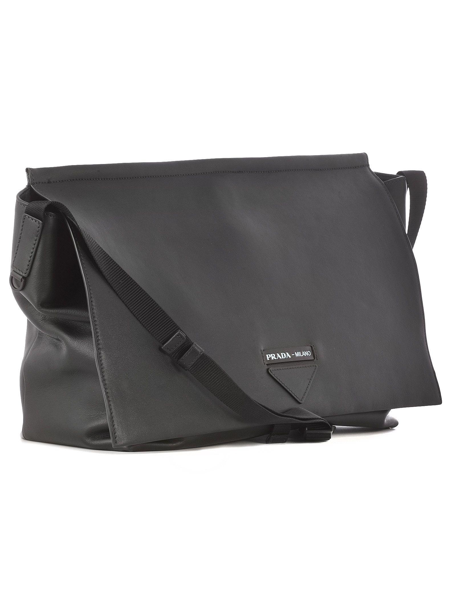 c12b05b2c57d Prada - Men s Black Leather Messenger Bag for Men - Lyst. View fullscreen