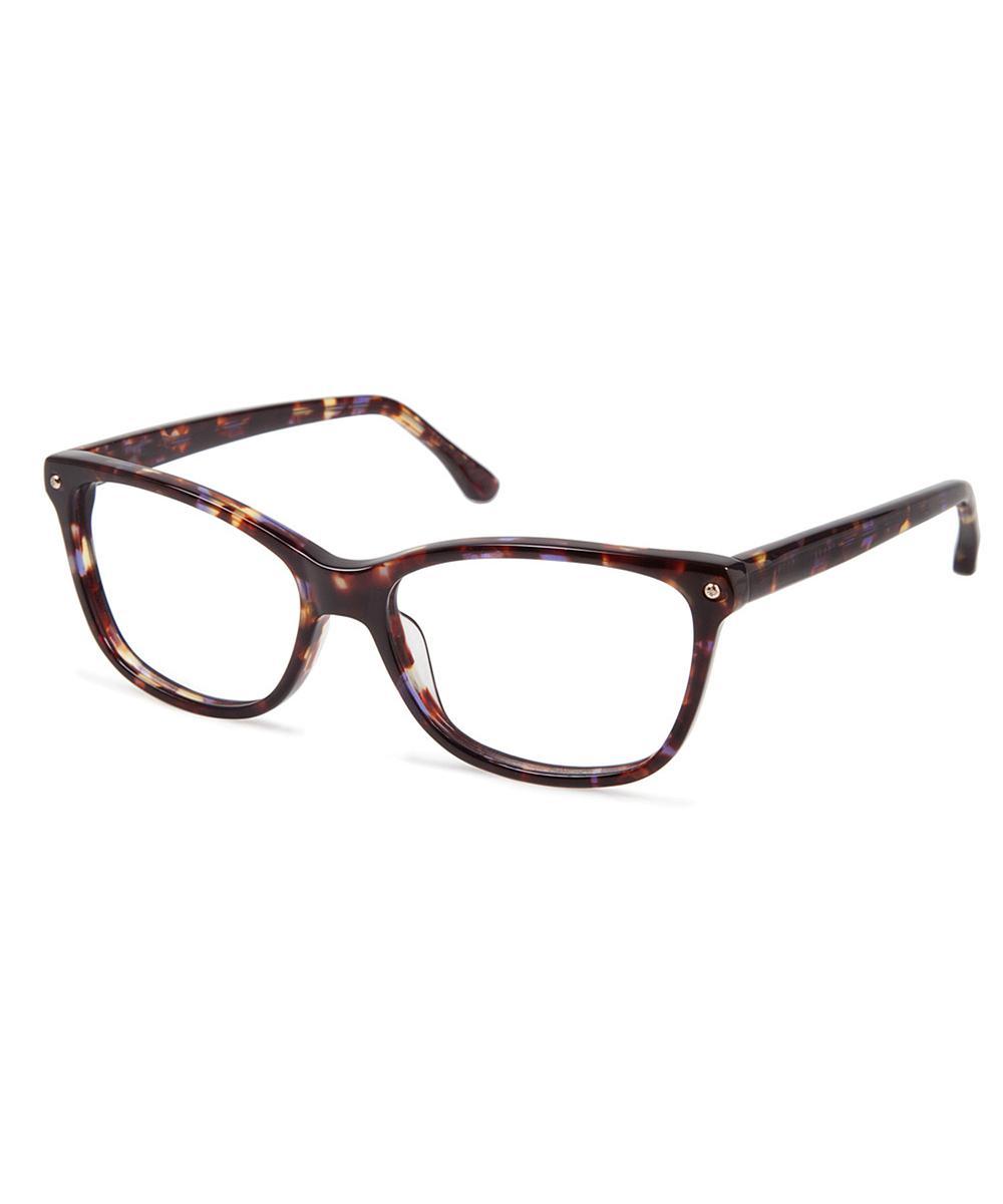 4cb28835ed6 Lyst - Cynthia Rowley Purple Tortoise Square Plastic Eyeglasses in Black