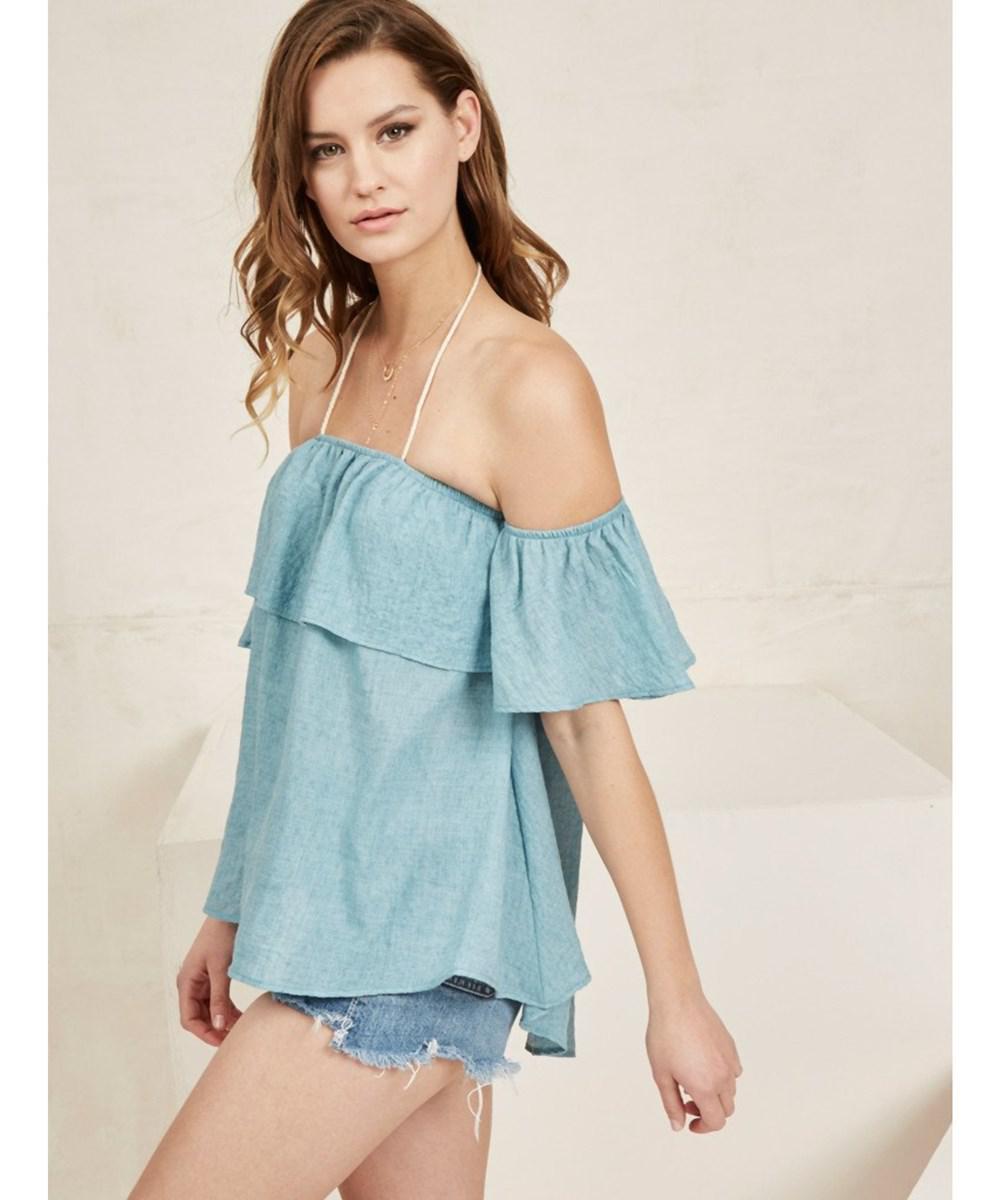 85a046845d420 Lyst - Noa Elle Women s Blake Off-shoulder Halter Top. in Blue