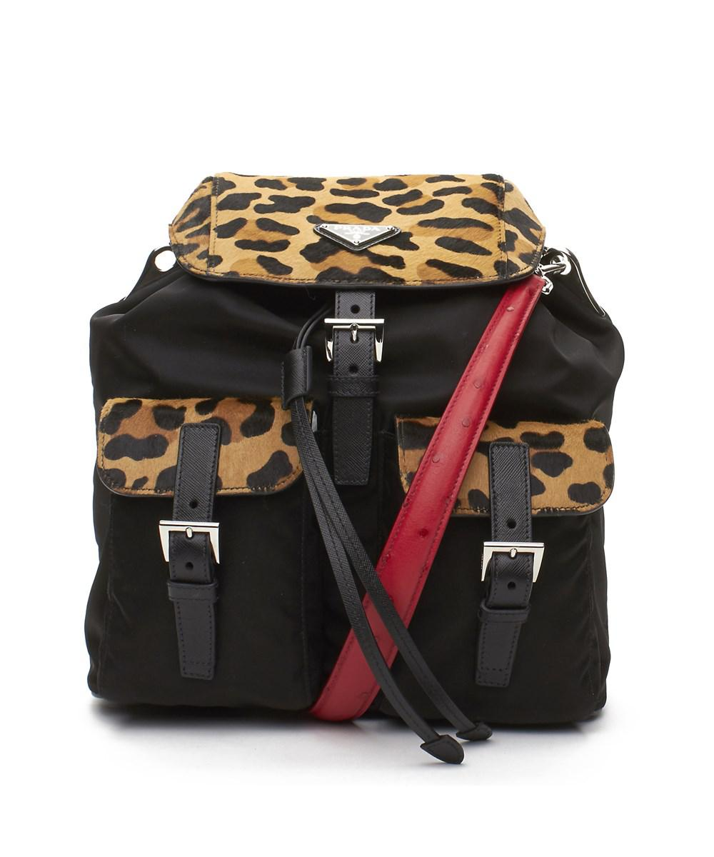 d1fd9ec39b18ed ... top quality coupon code for lyst prada cheetah pony hair leather canvas  backpack handbag black ea7f6 ...