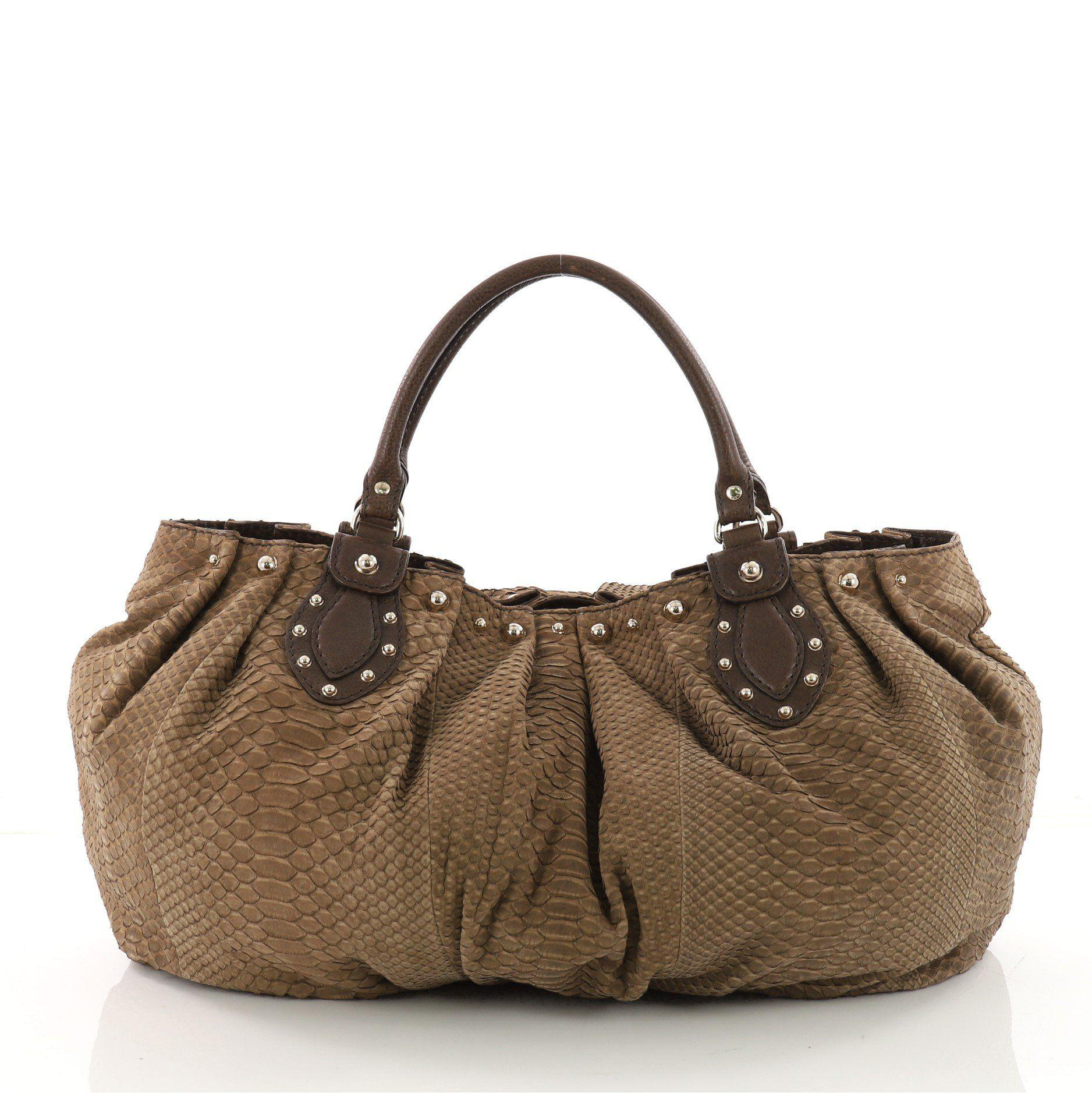 a9faa778fc5b2b Lyst - Gucci Pre Owned Pelham Tote Studded Python Large in Brown