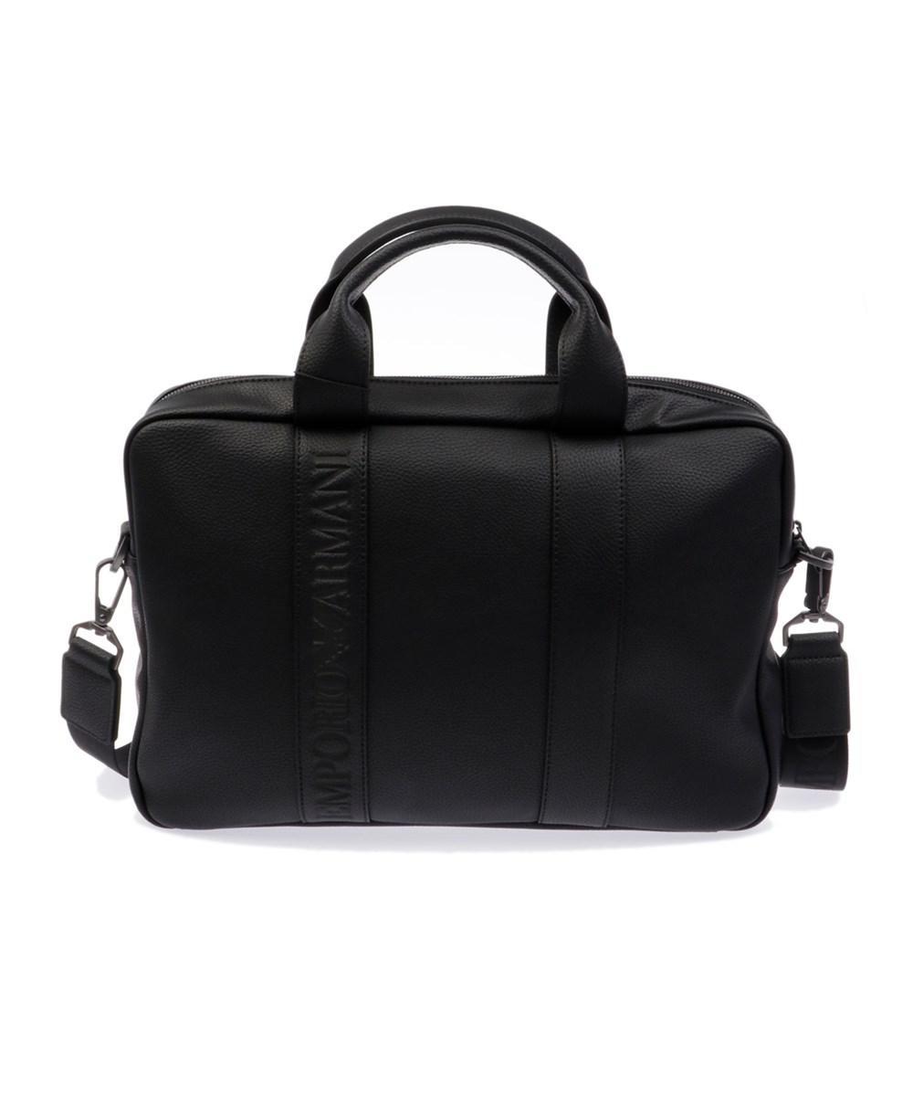Lyst - Emporio armani Men s Black Leather Briefcase in Black for Men a692b2056b