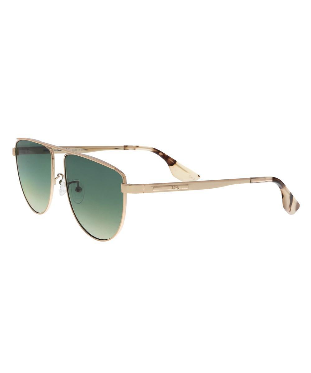 27dd9582eb4 Lyst - Alexander Mcqueen Mq0093s 005 Gold Aviator Sunglasses in Metallic
