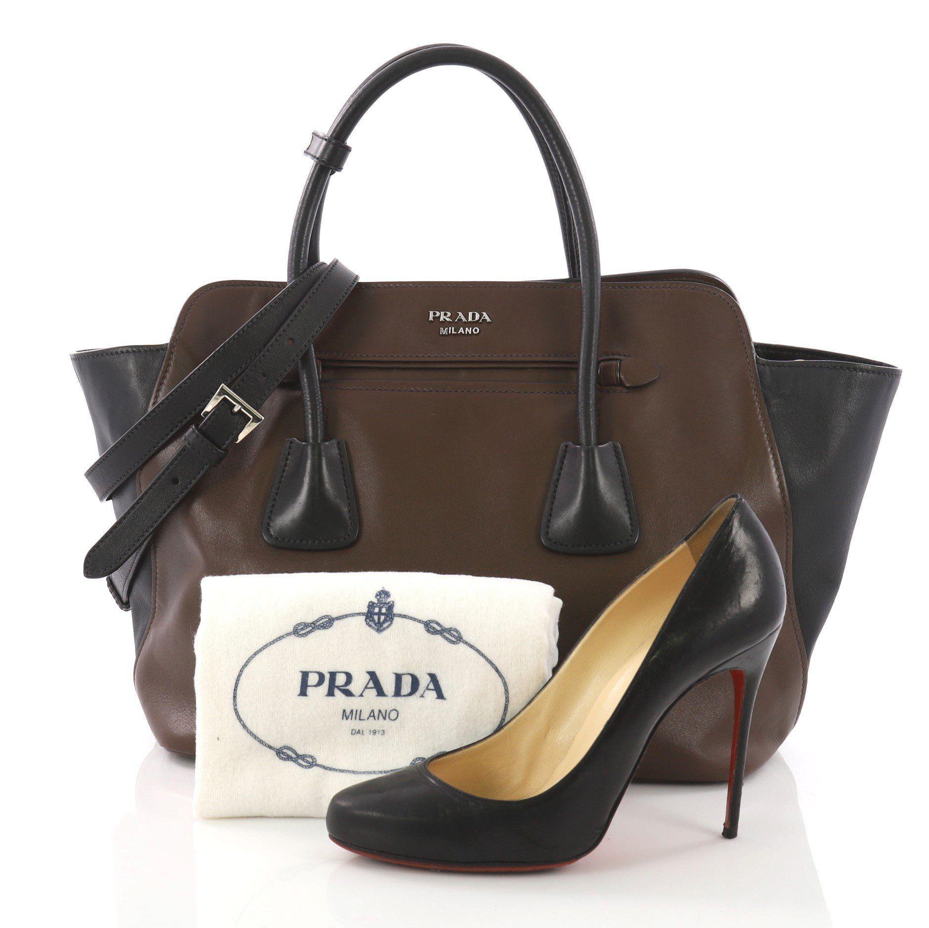 8c70678e93fc Prada - Brown Pre Owned Cuir Convertible Shopping Tote Soft Calfskin Large  - Lyst. View fullscreen
